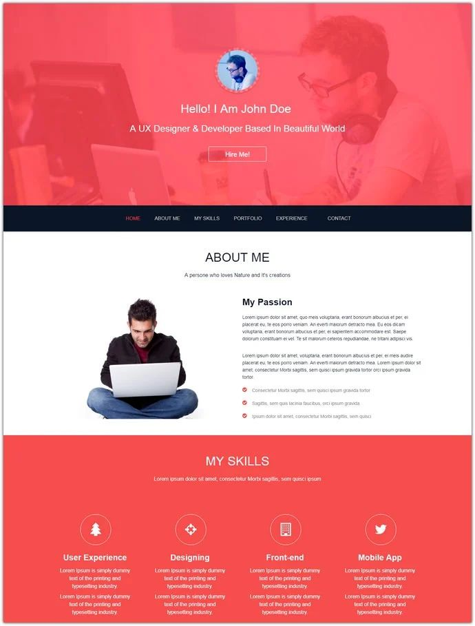 john bootstrap one page html5 resume template