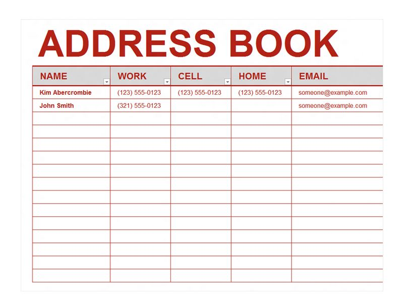 Address Book Template Excel - mandegarinfo