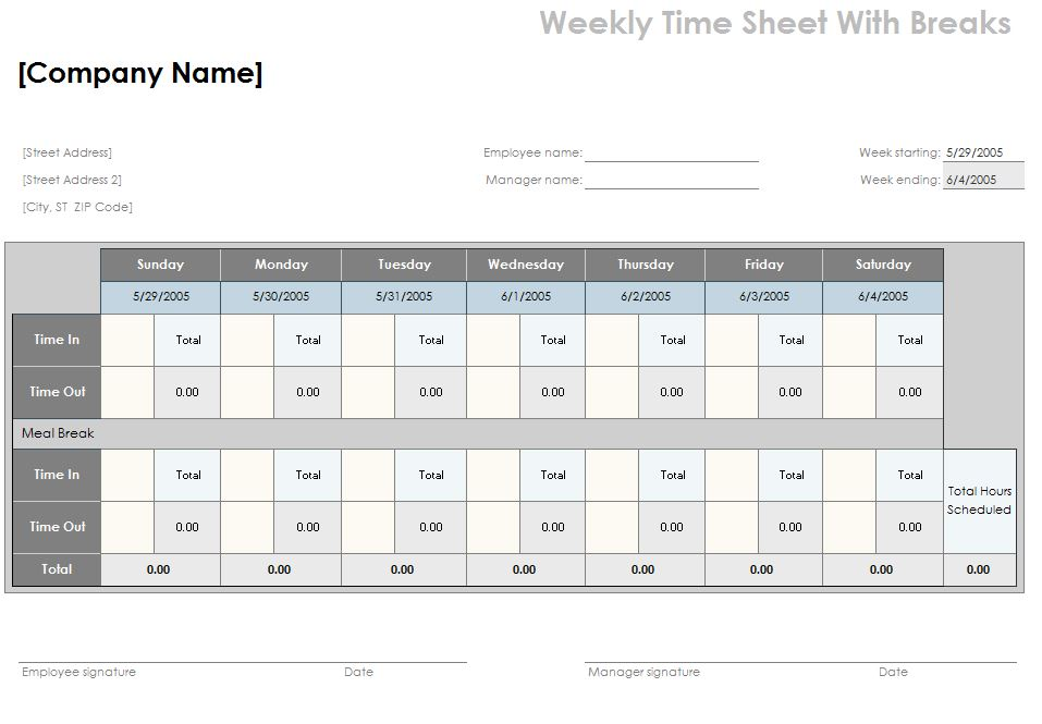 Timesheet Calculator with Lunch Break Template » Template Haven