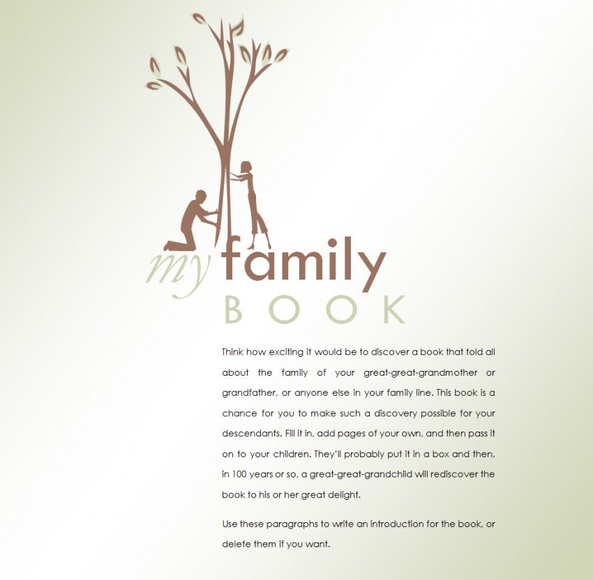 Family History Book Template » Template Haven