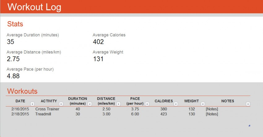 Workout Log Template » Template Haven - exercise log template