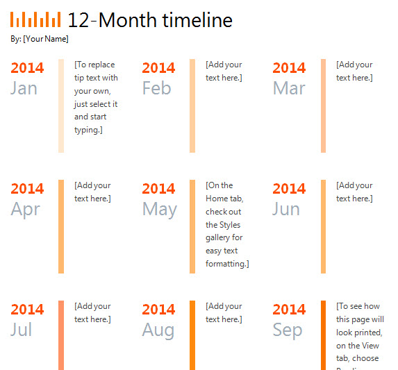 12 Month Timeline Template » Template Haven - calendar timeline template