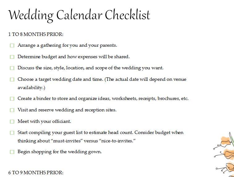 Calendar Wedding Checklist » Template Haven