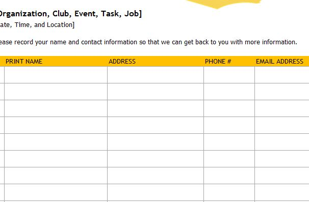 Event Sign-Up Sheet » Template Haven