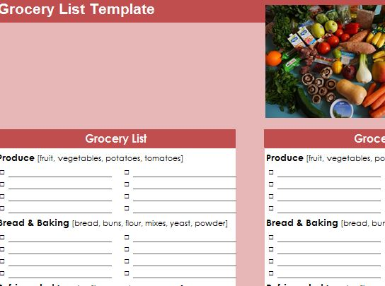 Grocery Checklist Template » Template Haven - grocery checklist template