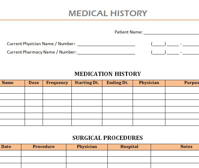 patient medical history template - Towerssconstruction