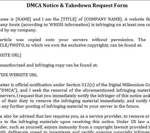 DMCA Notice Template » Template Haven