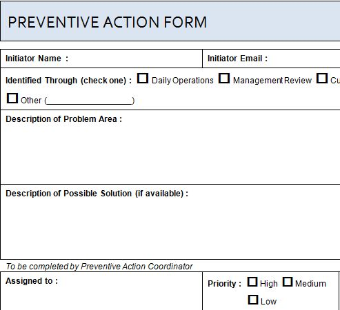 Project Preventive Action Form Template Haven