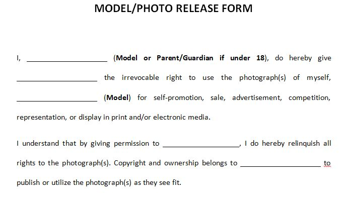 Model Release Form Template Legal Modeling Document » Template Haven