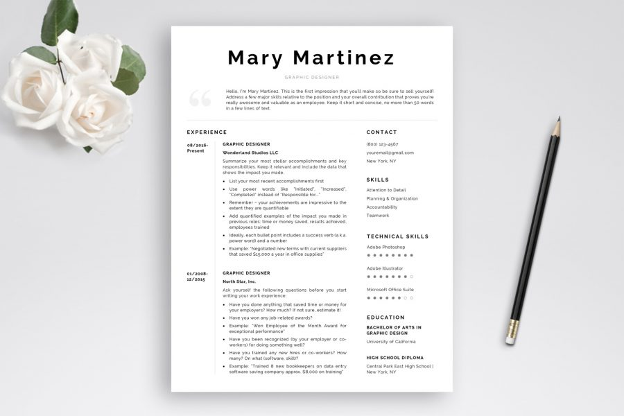 Resume Template and Cover Letter Template \ - Concise Resume Template