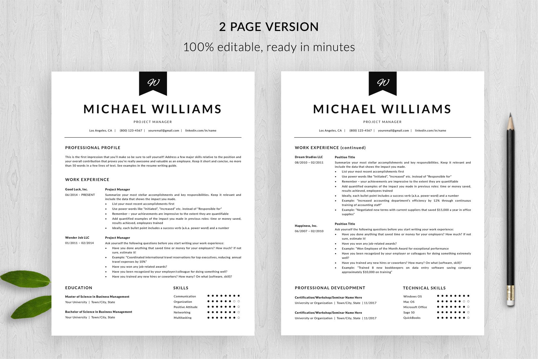 modern resume template 2 page purchase