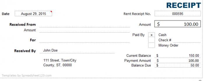 cash receipt format in excel