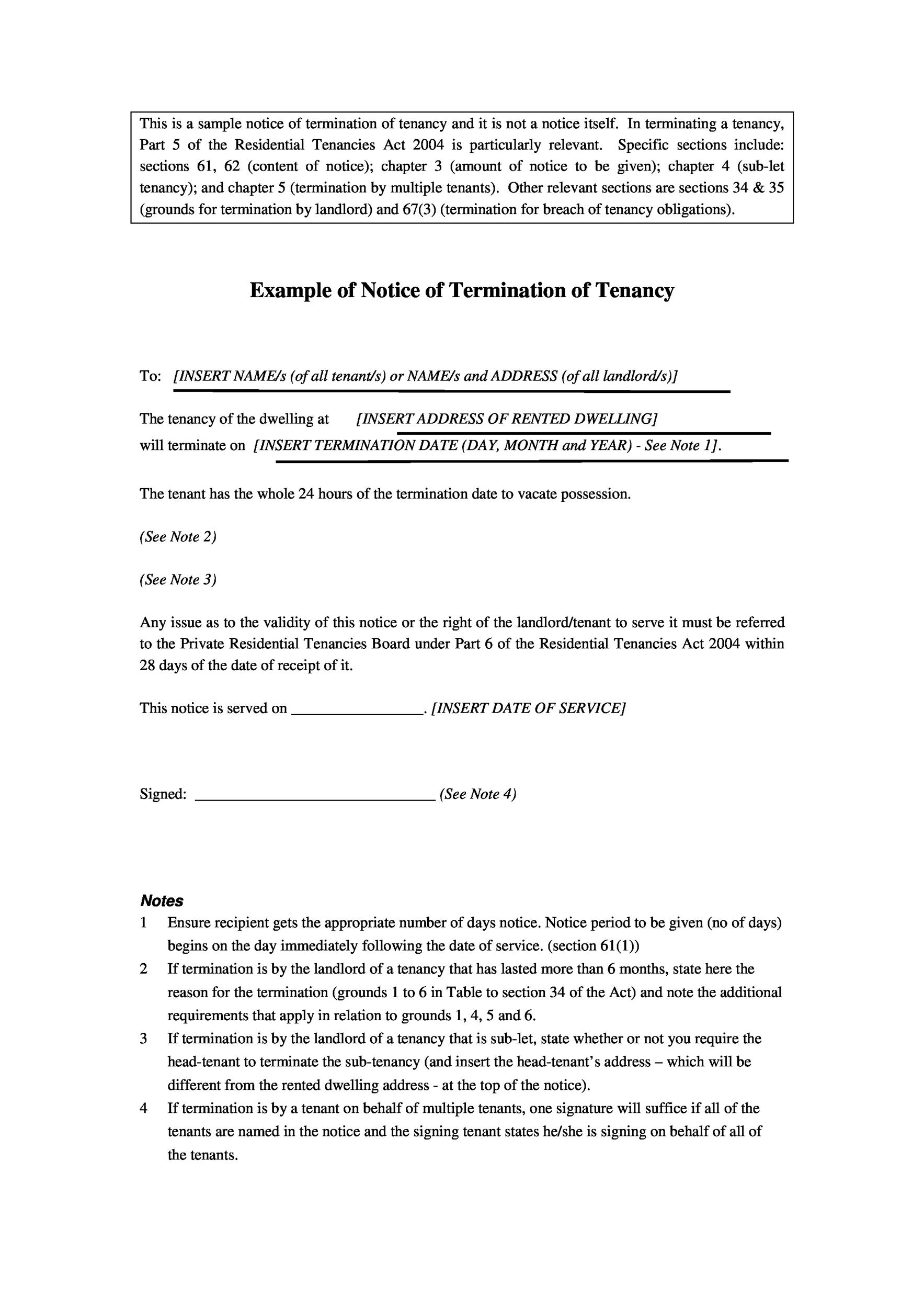 notice of termination of tenancy letter samples - Jolivibramusic - termination of lease letter templates