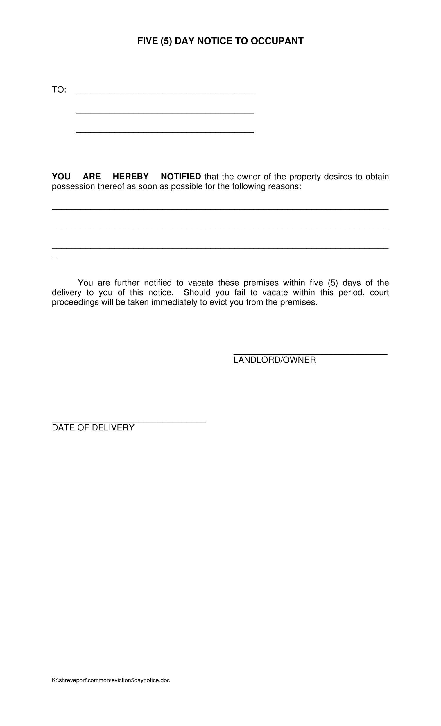 45 Eviction Notice Templates  Lease Termination Letters - Free Eviction Notices