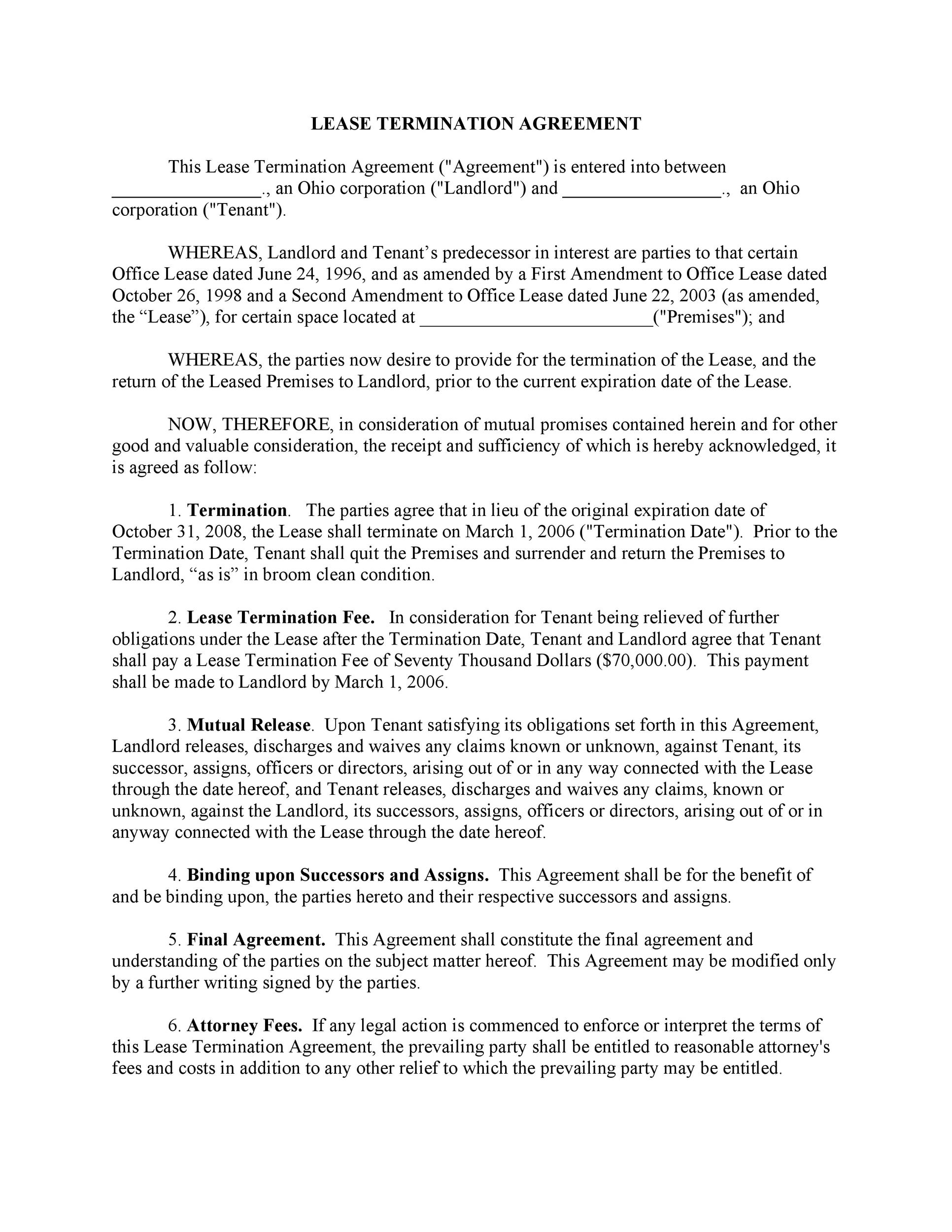 45 Eviction Notice Templates  Lease Termination Letters - lease termination agreement