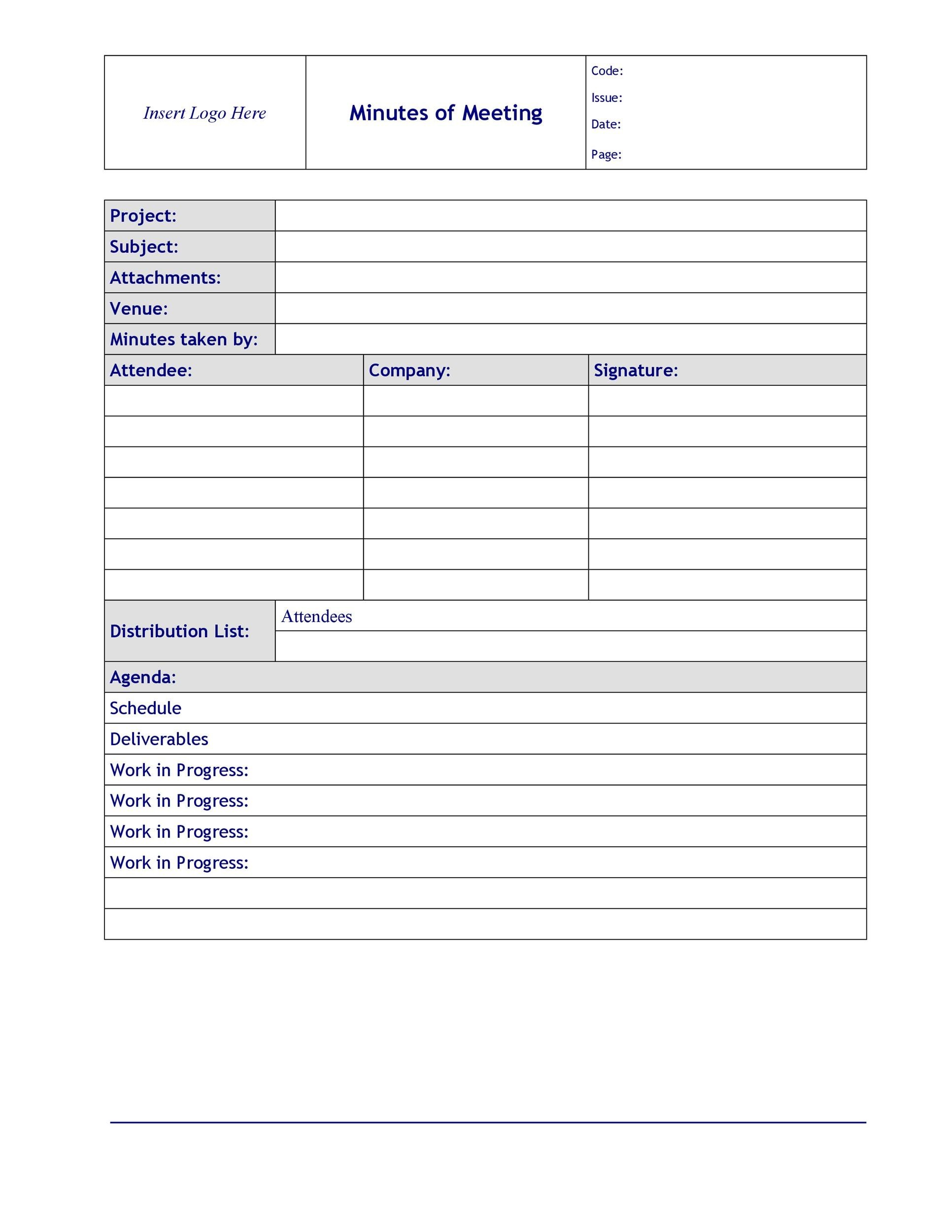 20 Handy Meeting Minutes  Meeting Notes Templates - minutes of meeting template free download