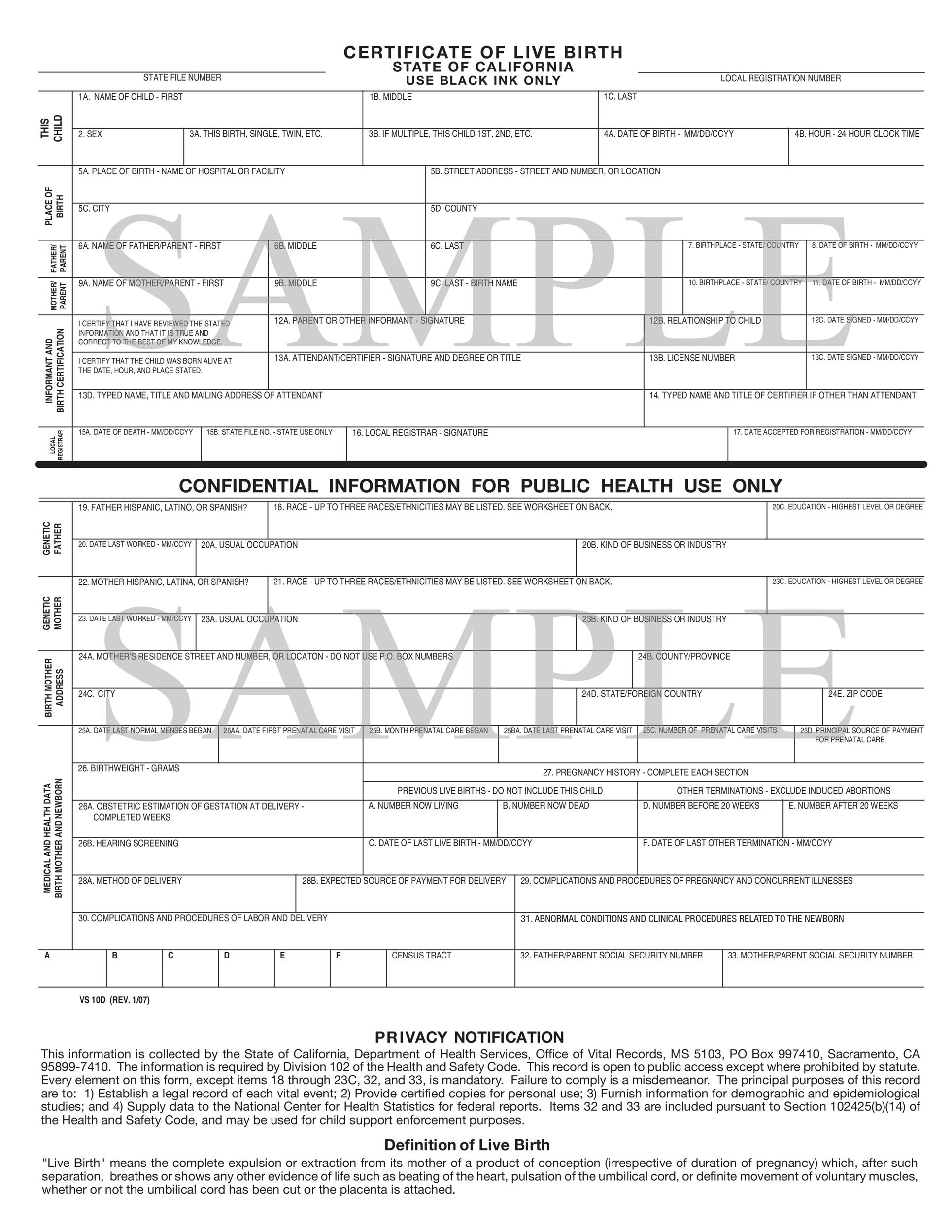 15 Birth Certificate Templates (Word  PDF) - Template Lab - Birth Certificate Template Printable