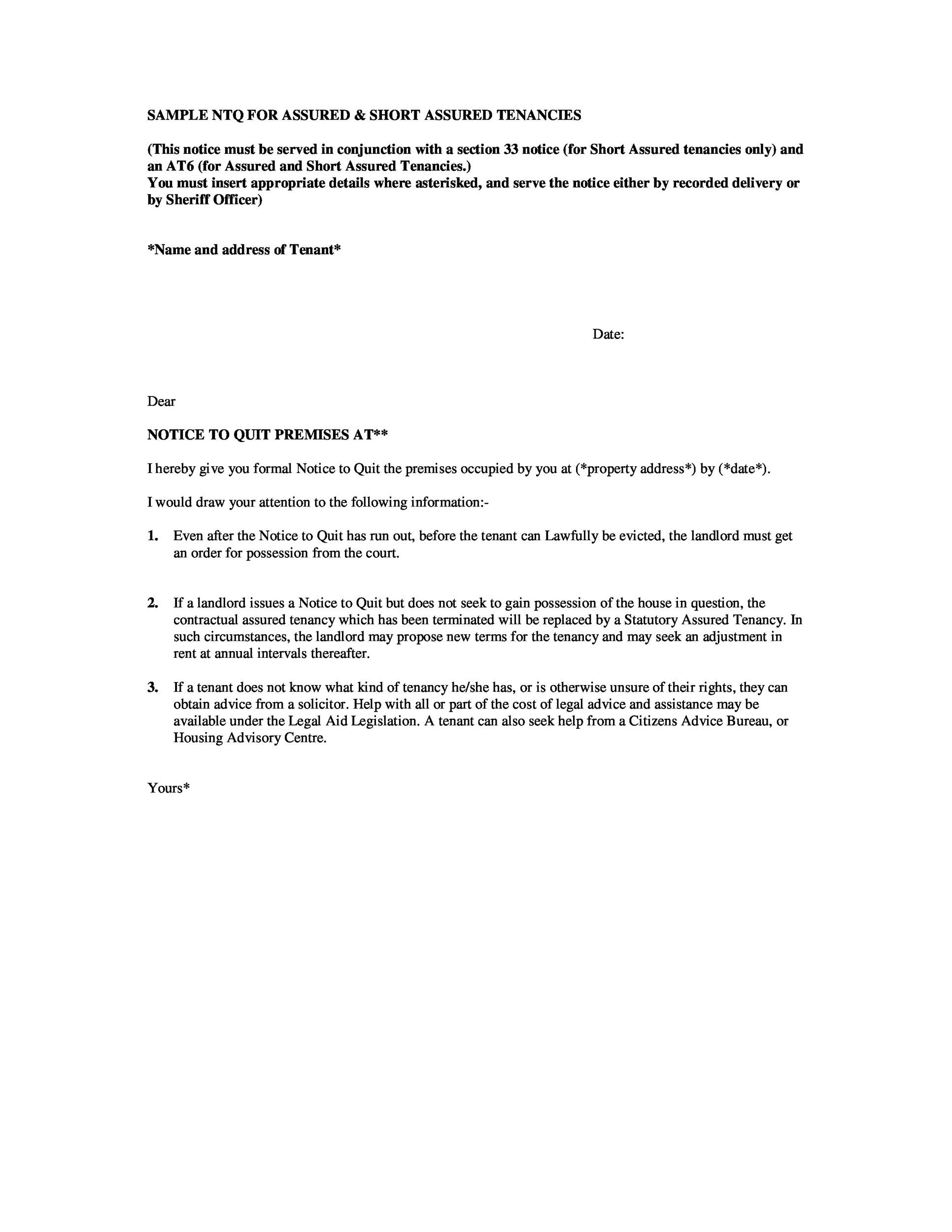 45 Eviction Notice Templates  Lease Termination Letters - notice to tenants template