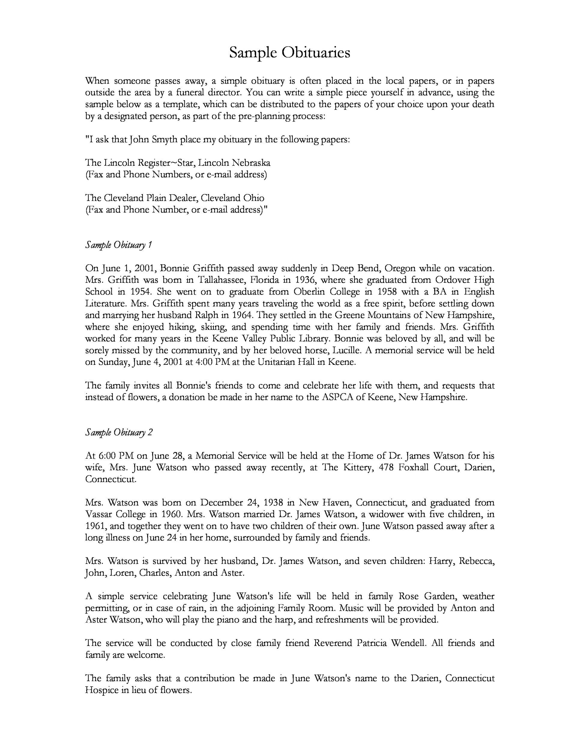 25+ Obituary Templates and Samples - Template Lab - sample obituary