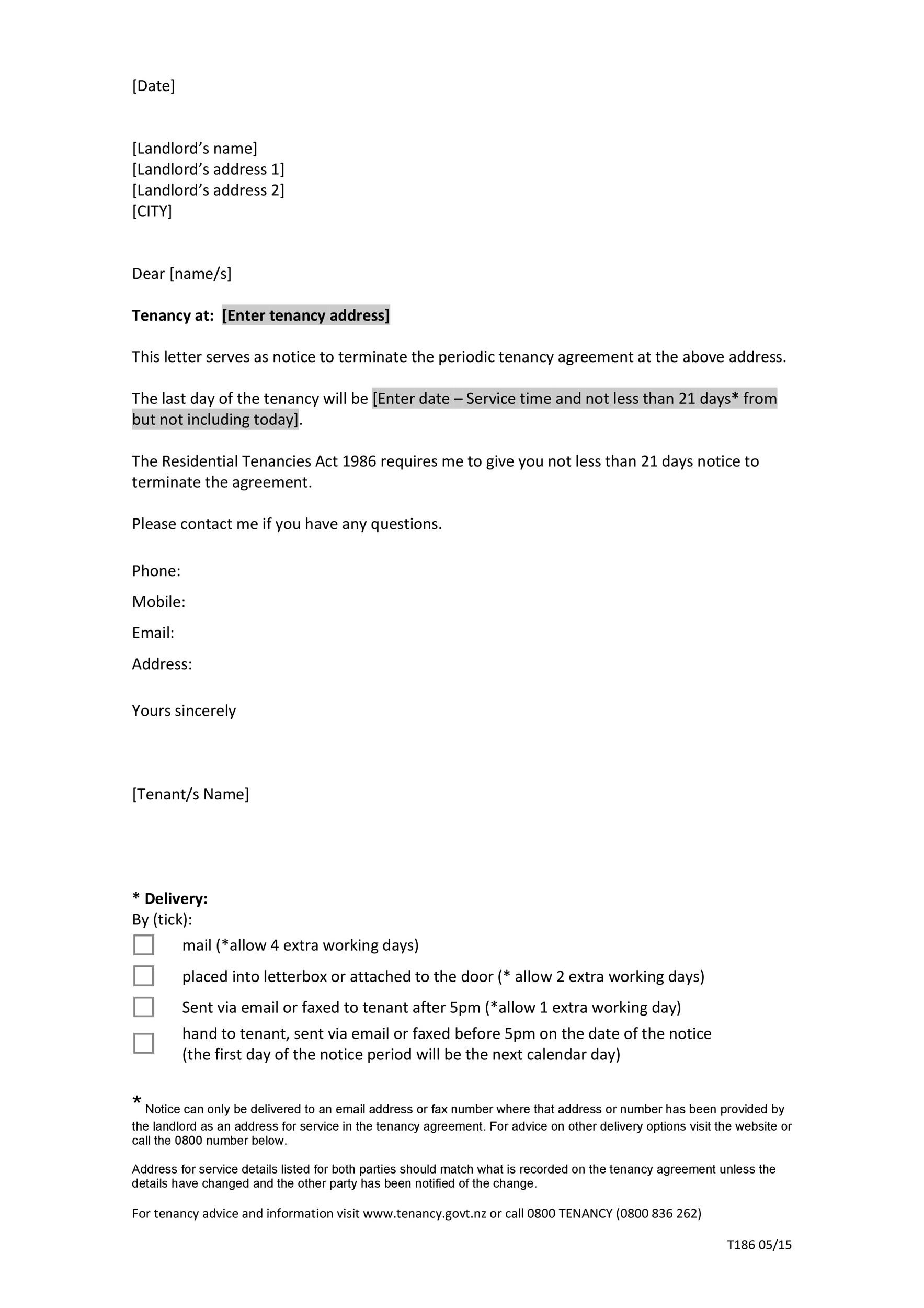 45 Eviction Notice Templates  Lease Termination Letters - rental agreement letter template