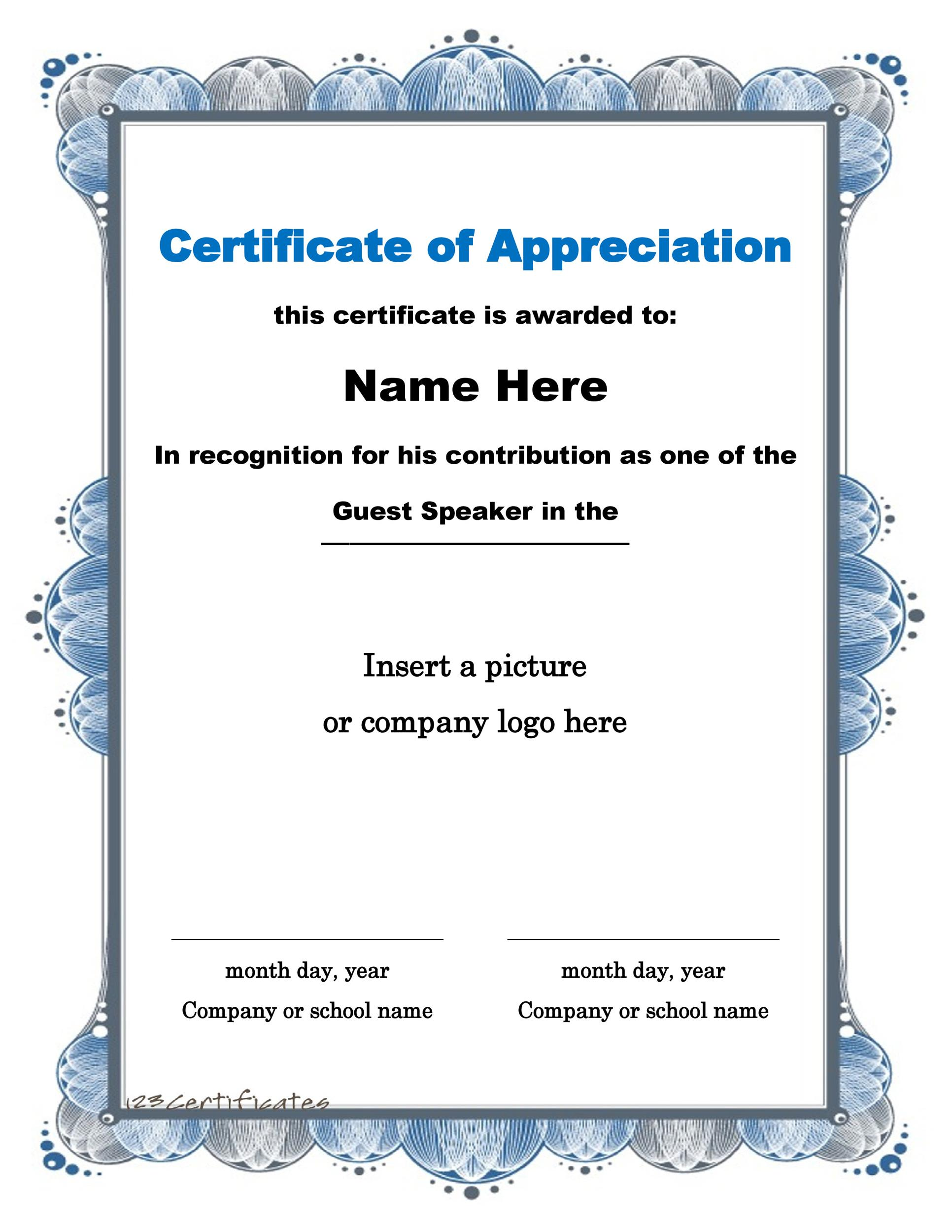 30 Free Certificate of Appreciation Templates and Letters - military certificate of appreciation template