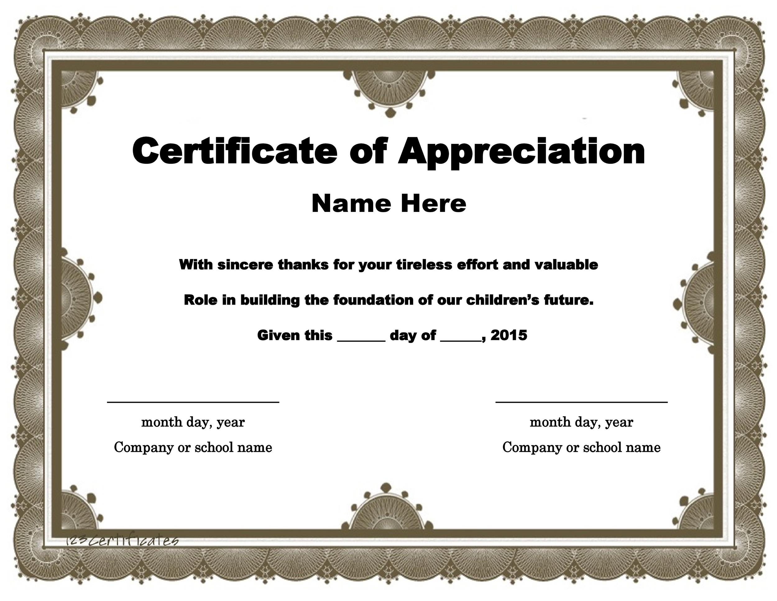 30 Free Certificate of Appreciation Templates and Letters - Certificate Samples In Word Format