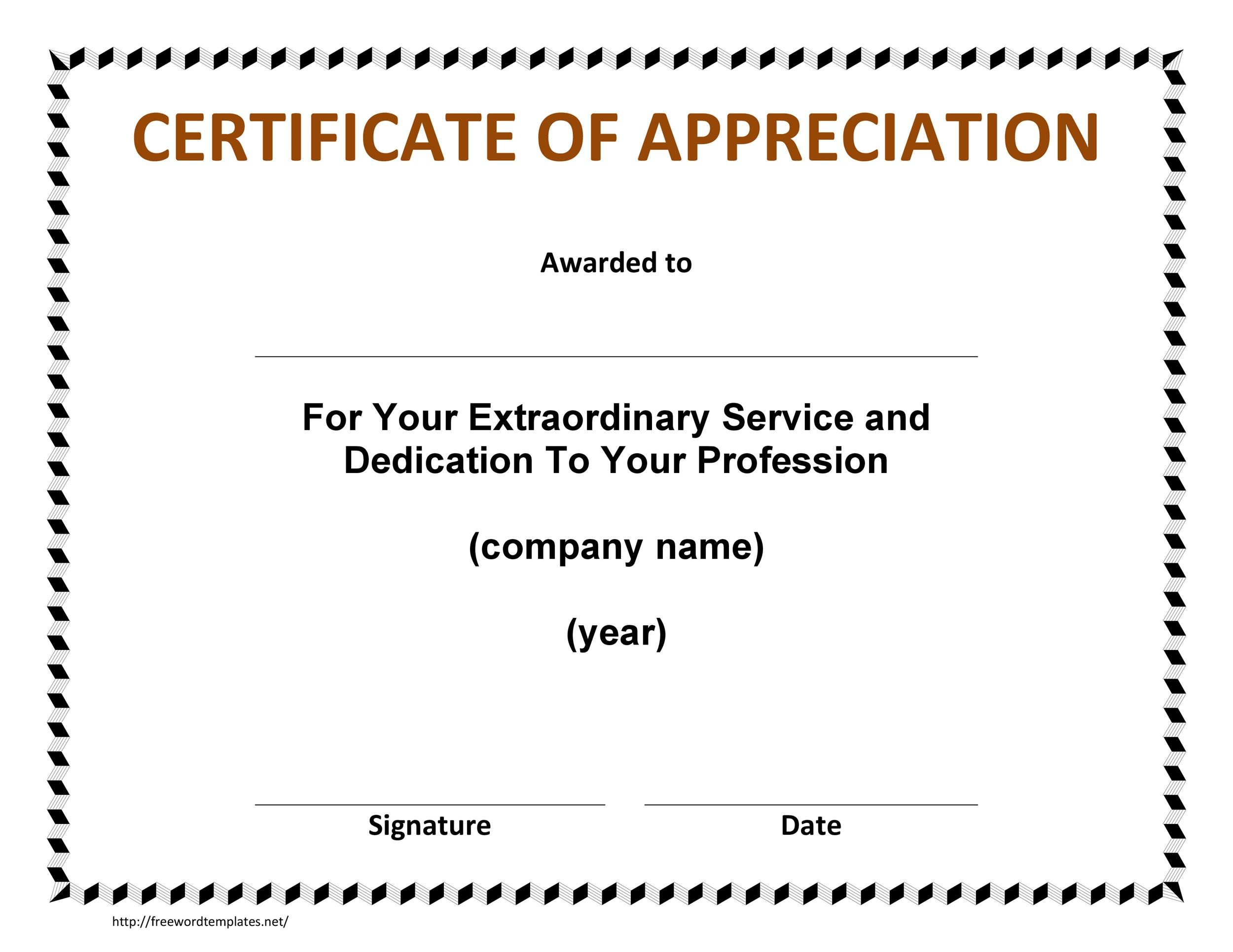 30 Free Certificate of Appreciation Templates and Letters - blank certificate of recognition