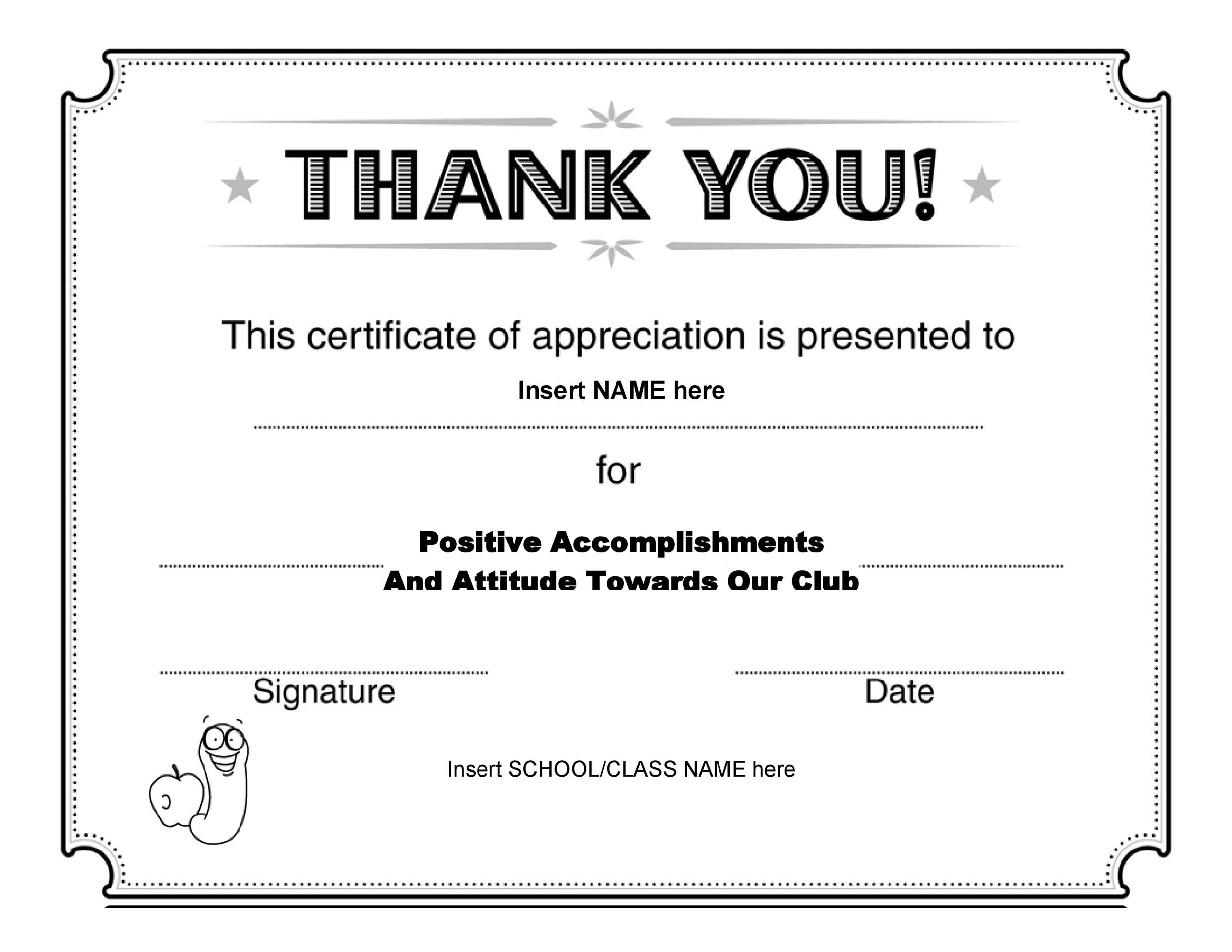 free certificates of appreciation