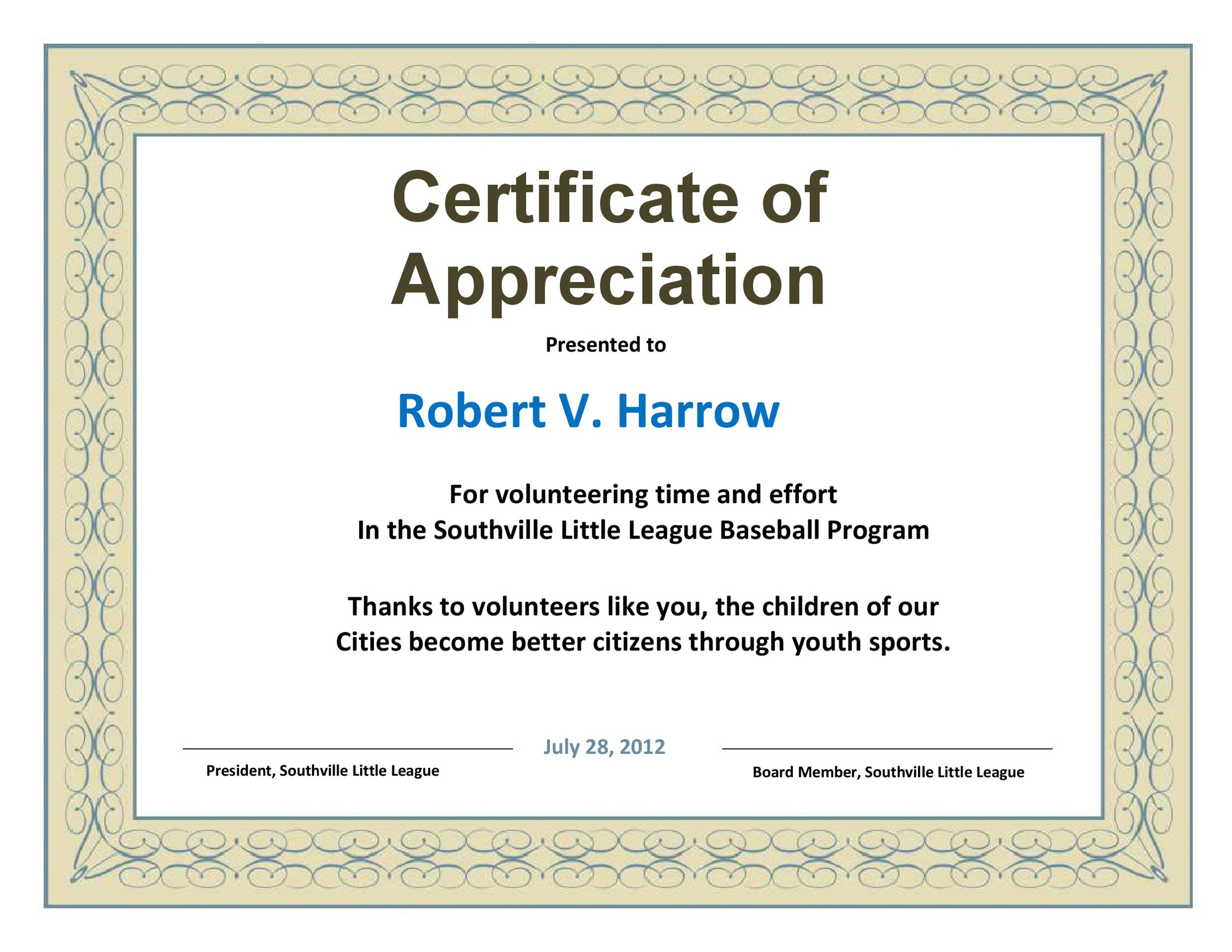 30 Free Certificate of Appreciation Templates and Letters - Certificate Of Appreciation Words