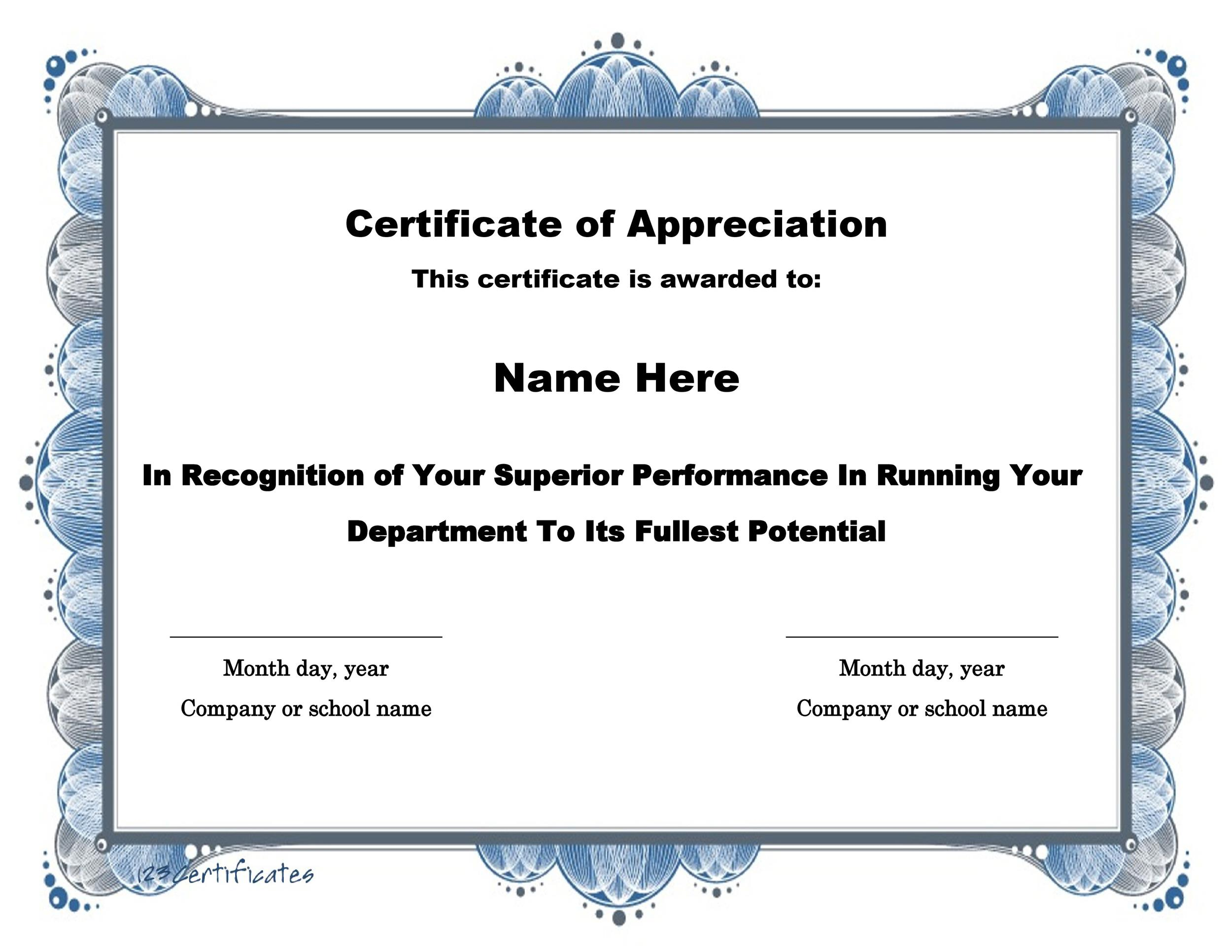 30 Free Certificate of Appreciation Templates and Letters - sample school certificate