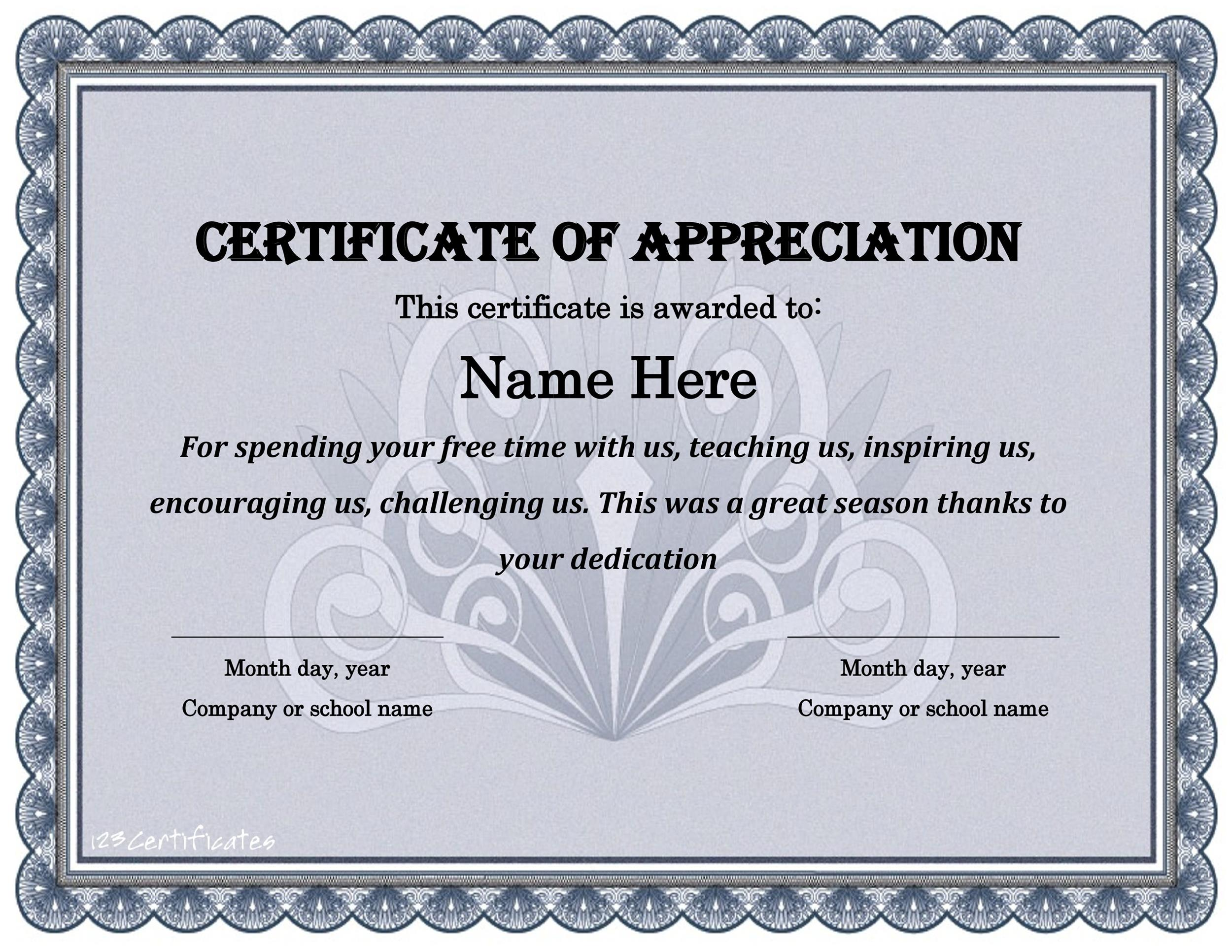 30 Free Certificate of Appreciation Templates and Letters - free appreciation certificate templates