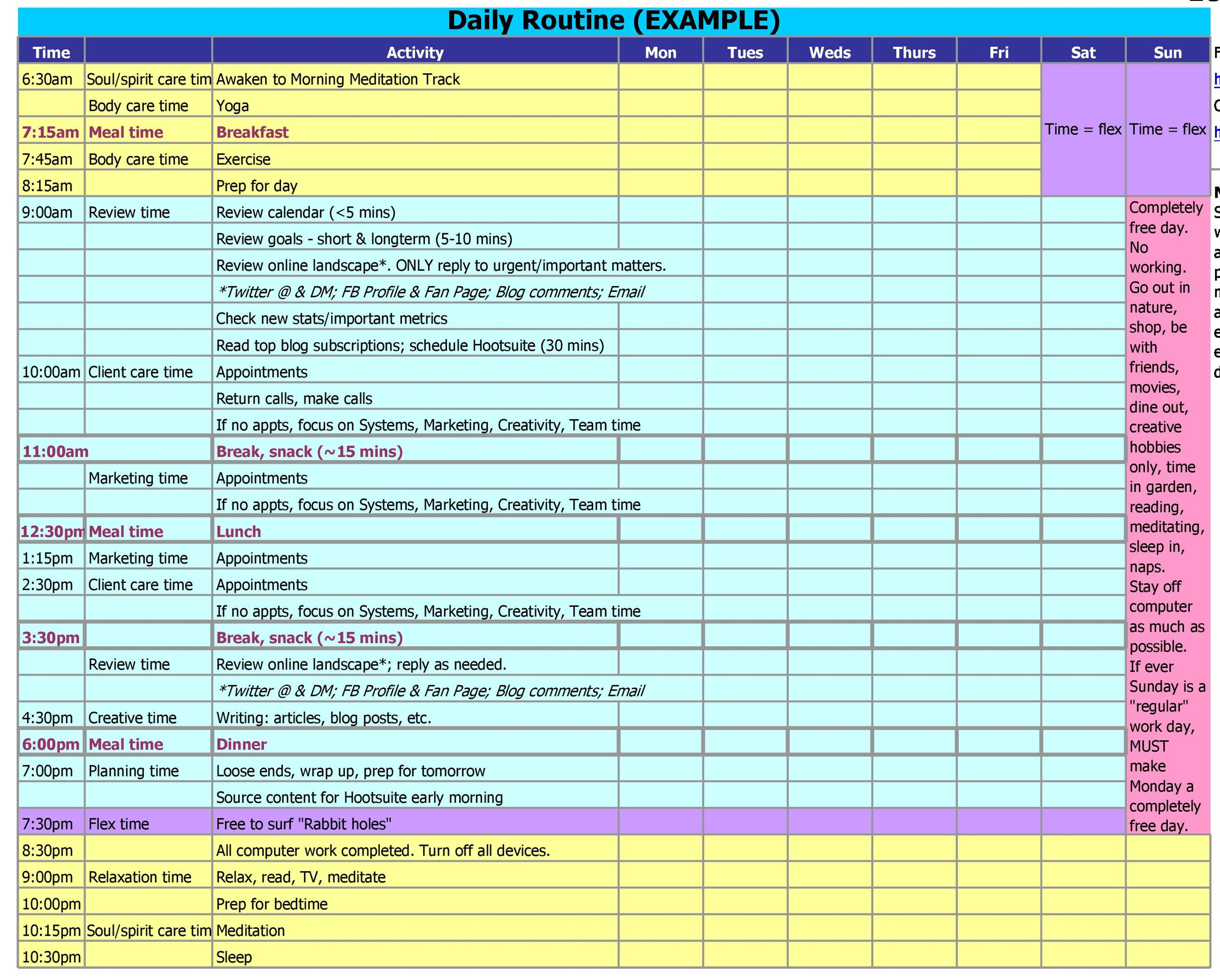 17 Perfect Daily Work Schedule Templates - Template Lab - unit organizer routine template