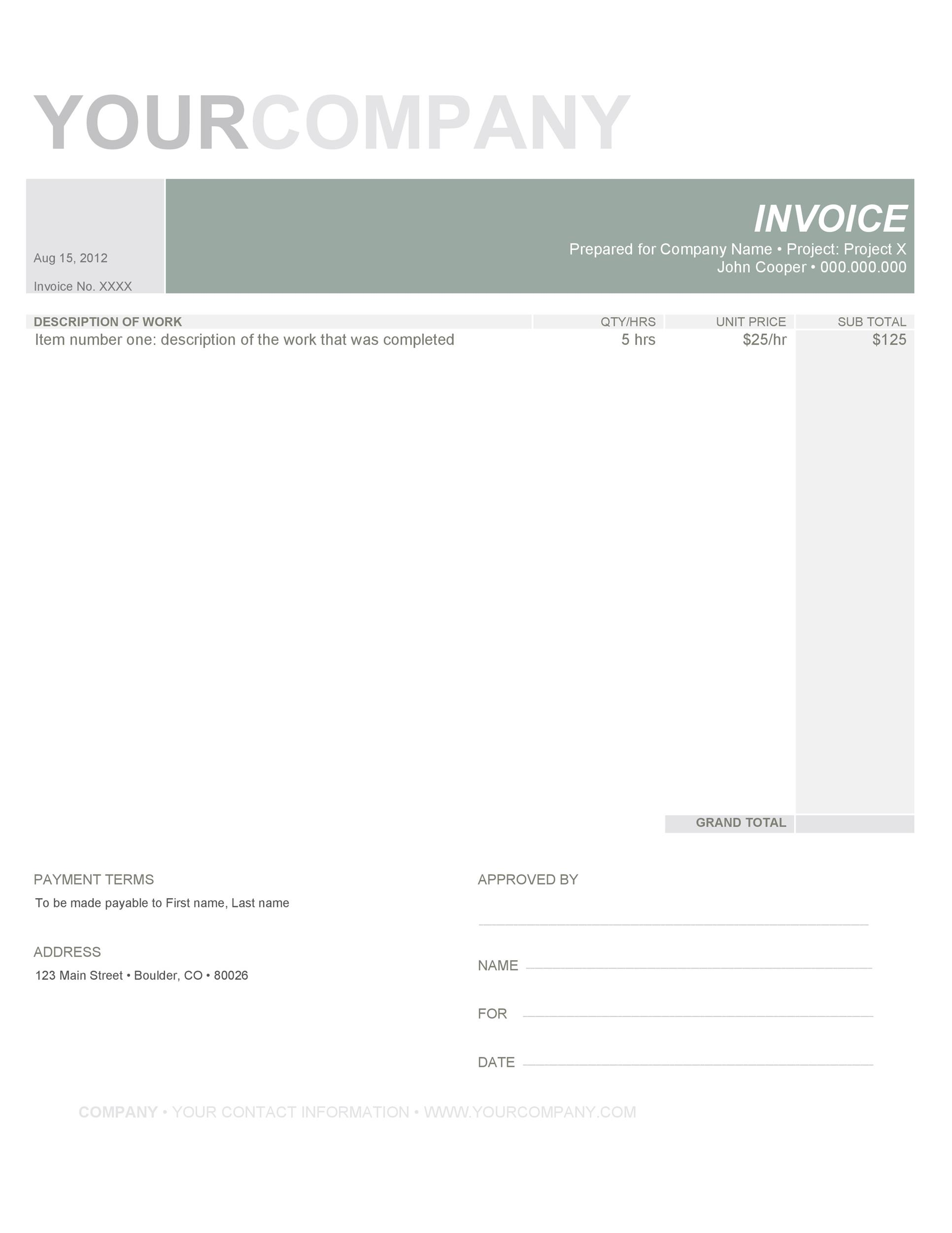 download labor invoice template word | rabitah, Invoice examples