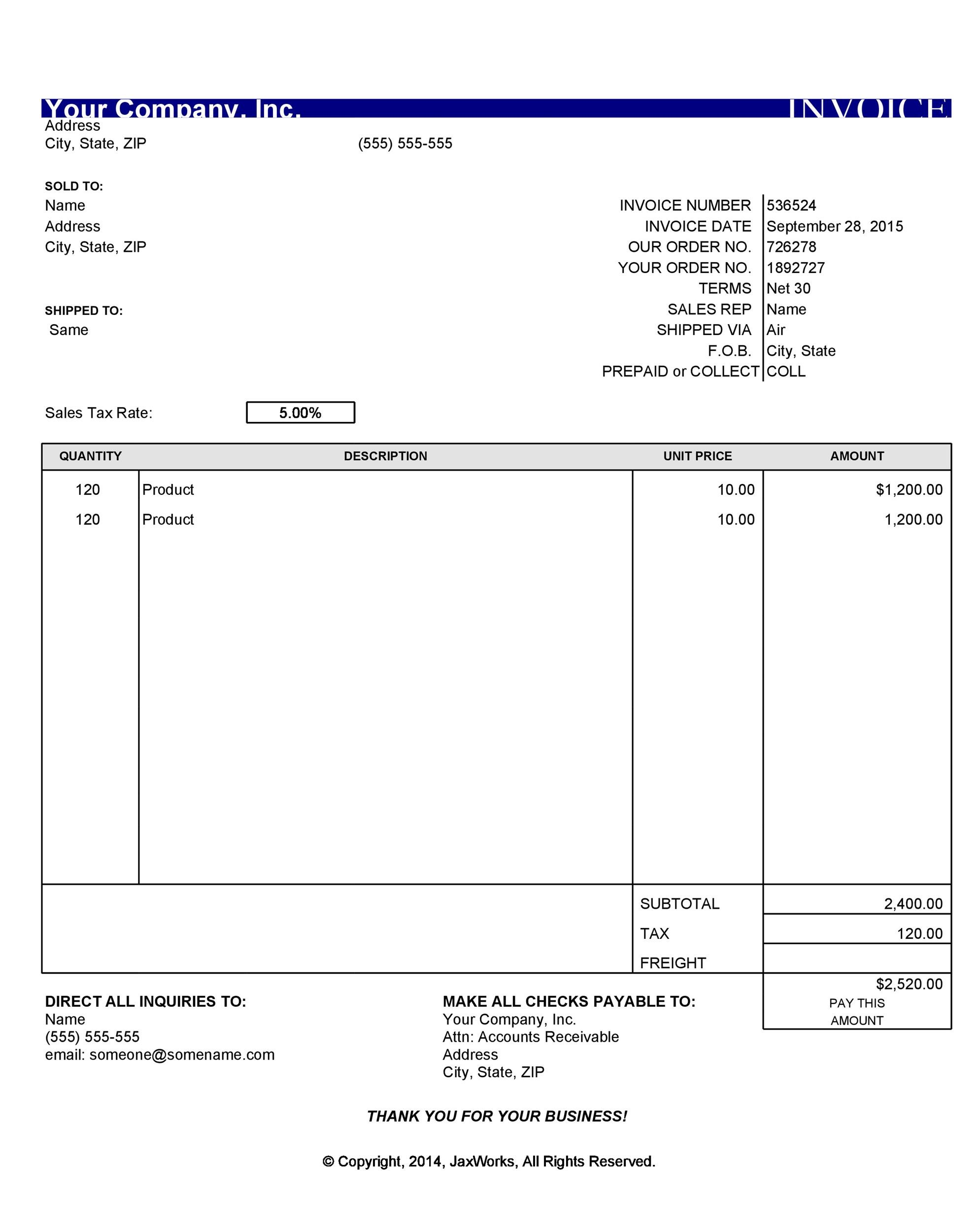 40+ Invoice Templates Blank, Commercial (PDF, Word, Excel)
