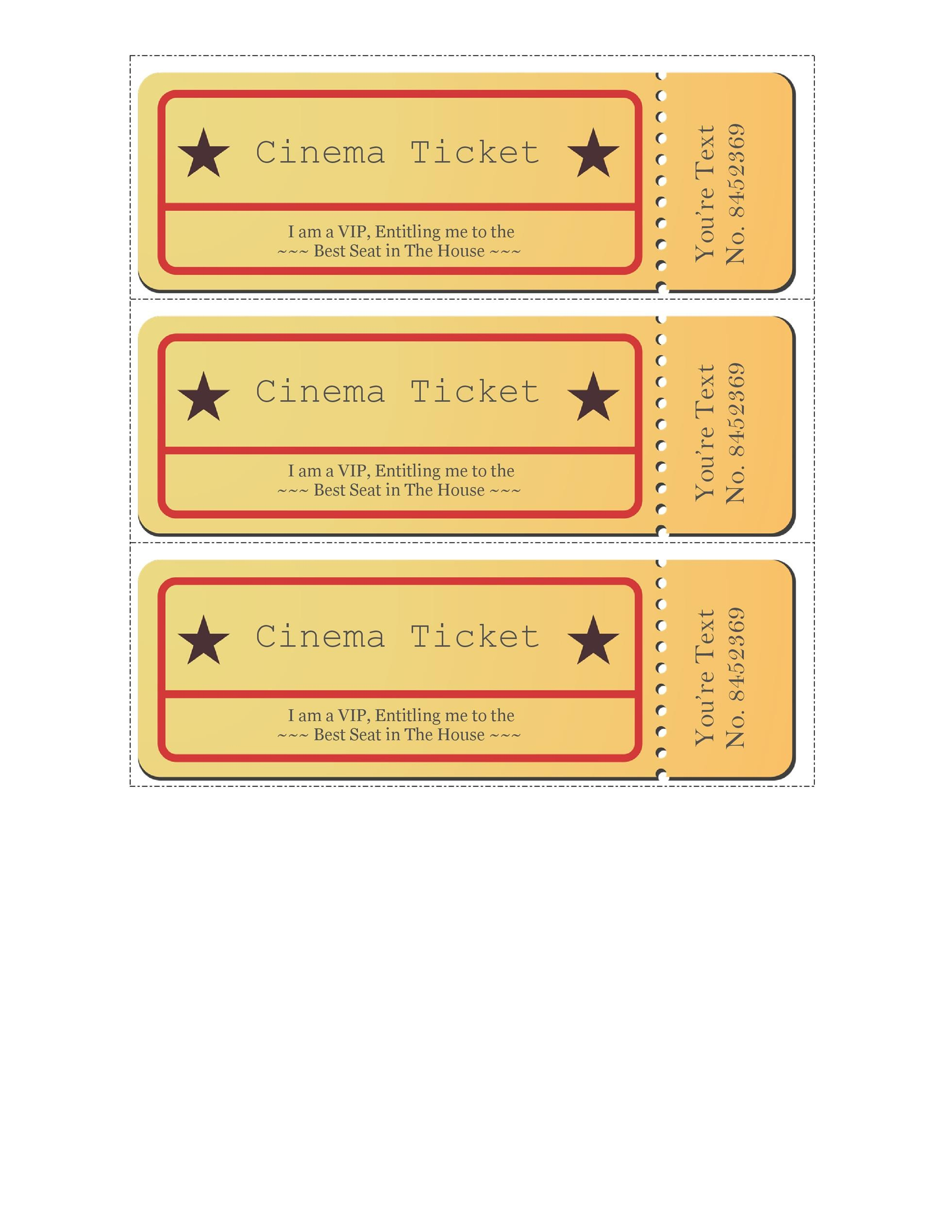 40+ Free Editable Raffle  Movie Ticket Templates - Free Printable Raffle Ticket Template Download