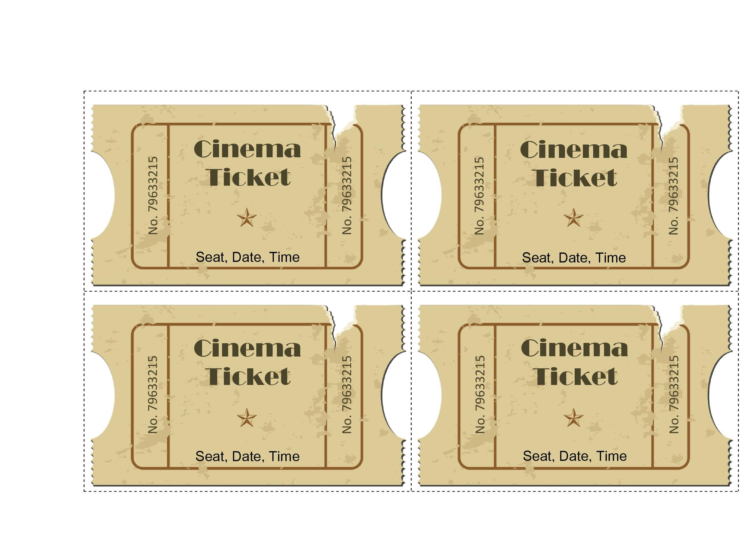 40+ Free Editable Raffle  Movie Ticket Templates - movie ticket templates for word