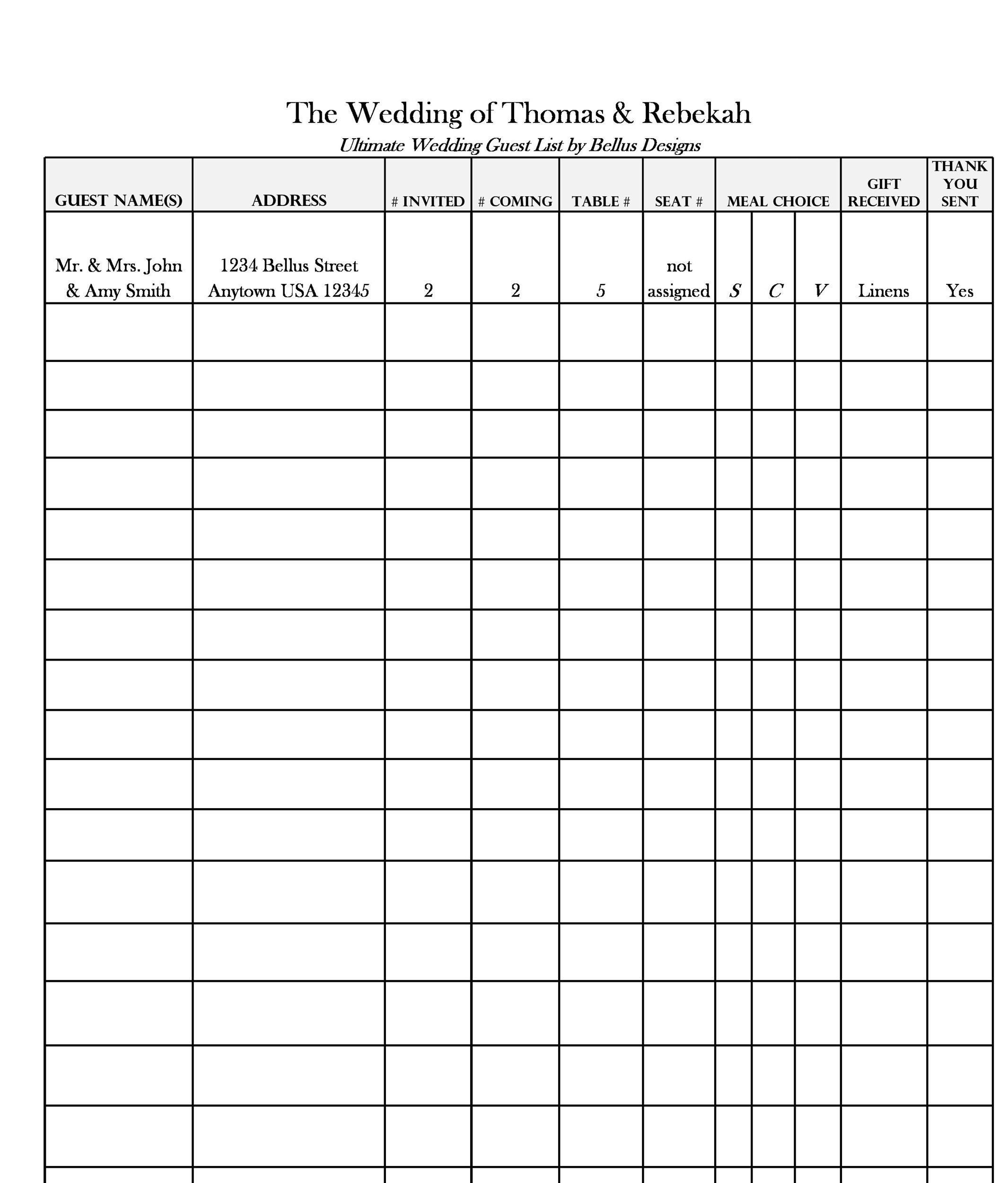 Doc#601468 Printable Wedding Guest List Spreadsheet u2013 Sample - guest list sample