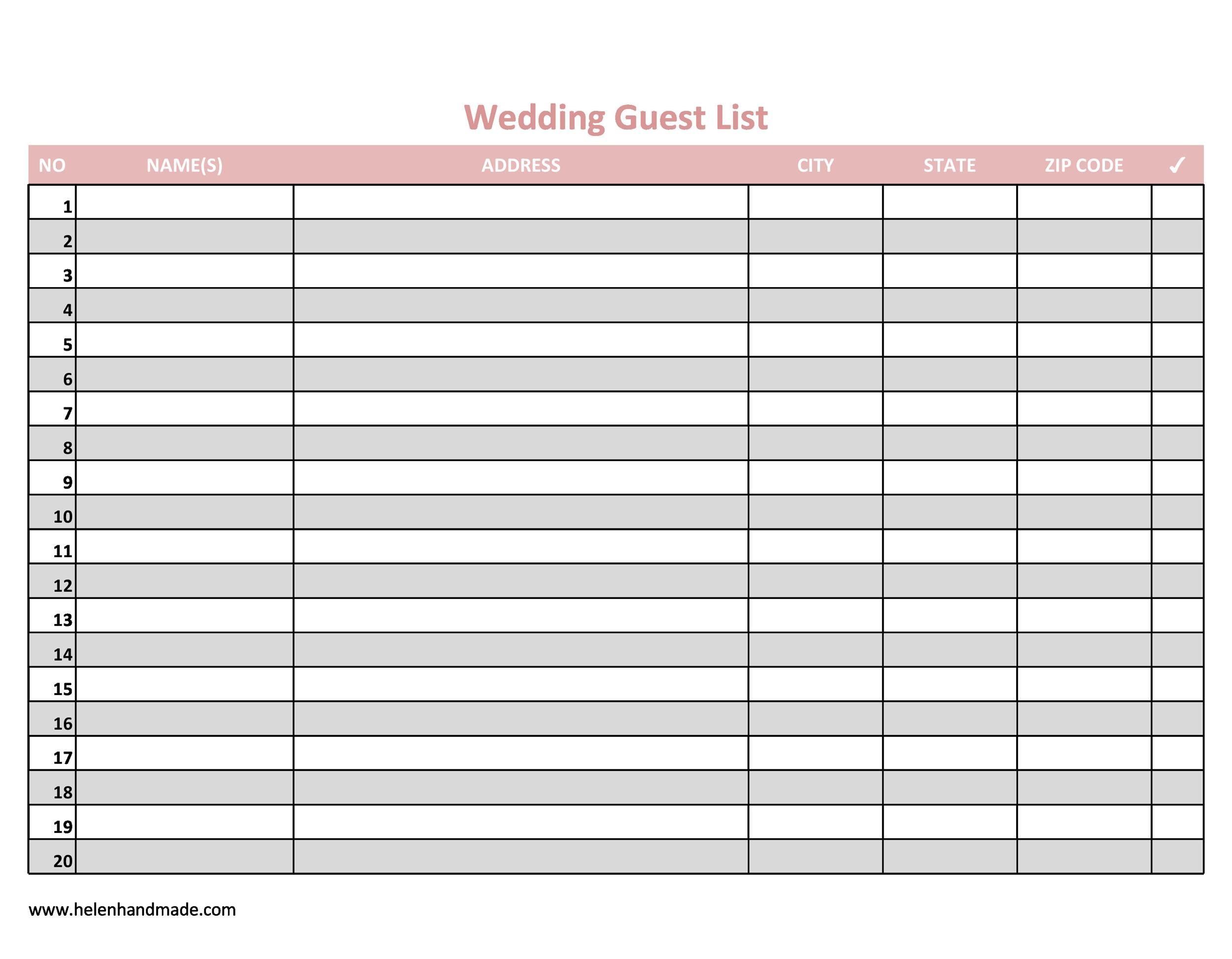 wedding guest list print out - Romeolandinez - sample wedding guest list