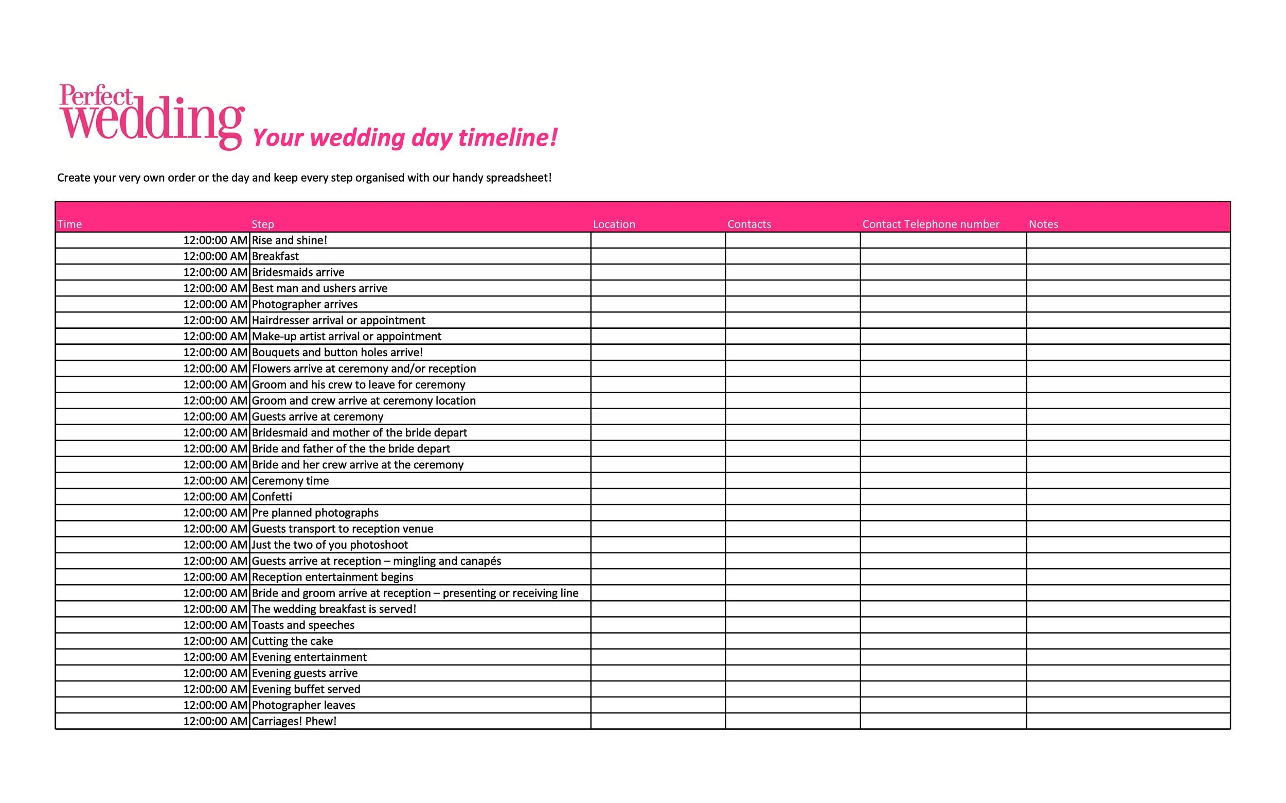 35+ Beautiful Wedding Guest List  Itinerary Templates - wedding list
