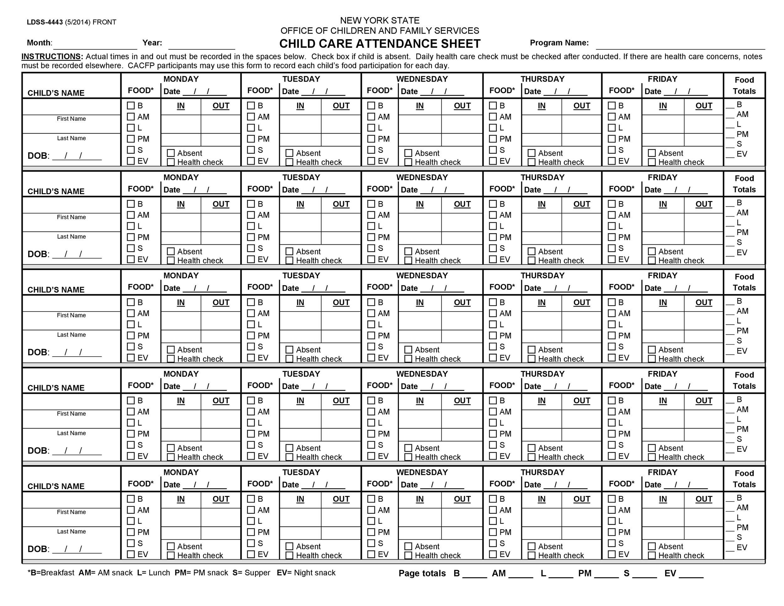 38 Free Printable Attendance Sheet Templates - sample attendance sheet template