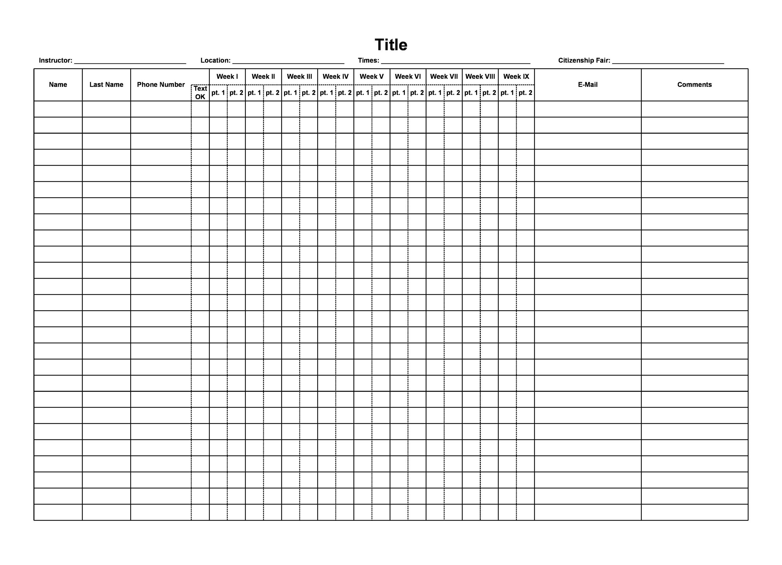 attendance sheet template free - Selol-ink