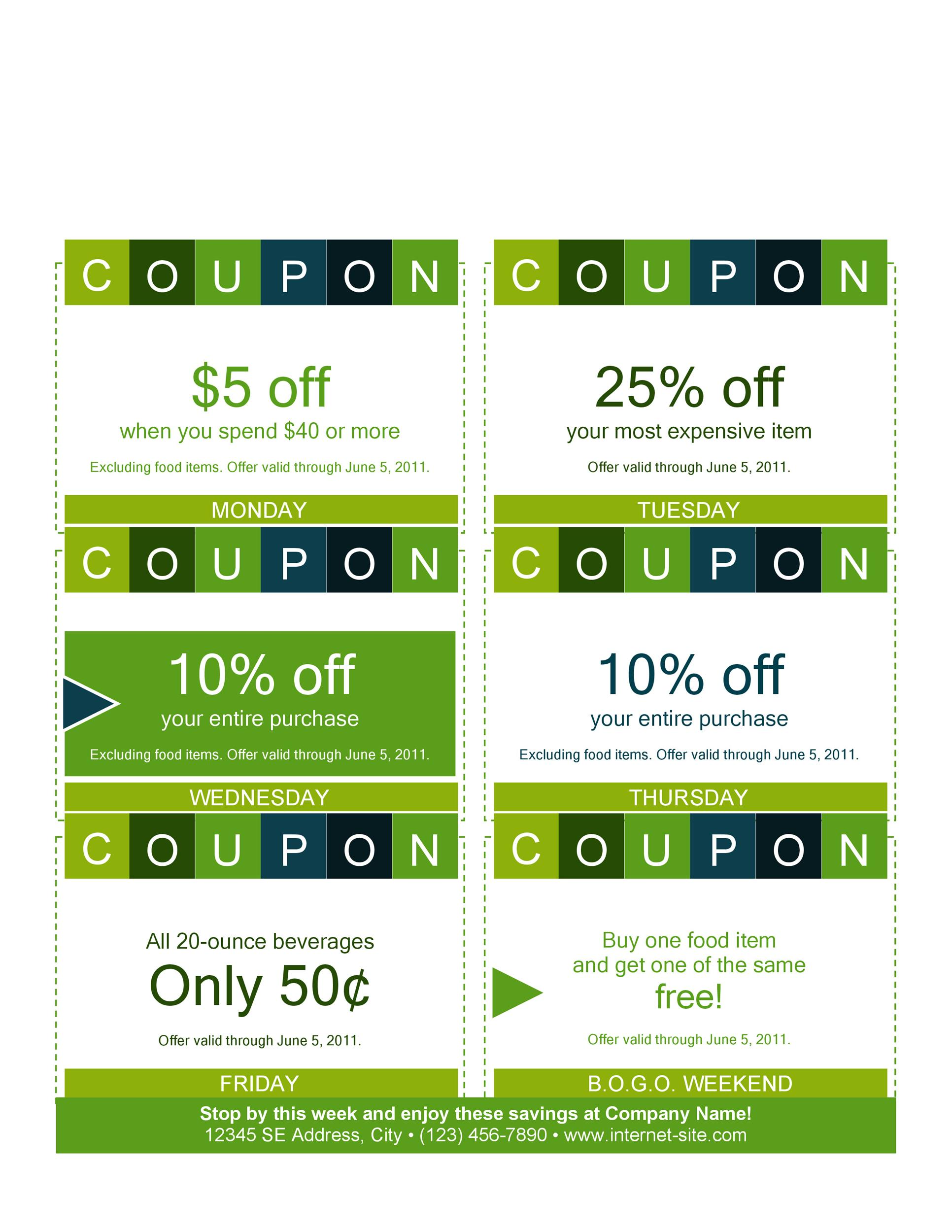 50 Free Coupon Templates - Template Lab - Lunch Voucher Template
