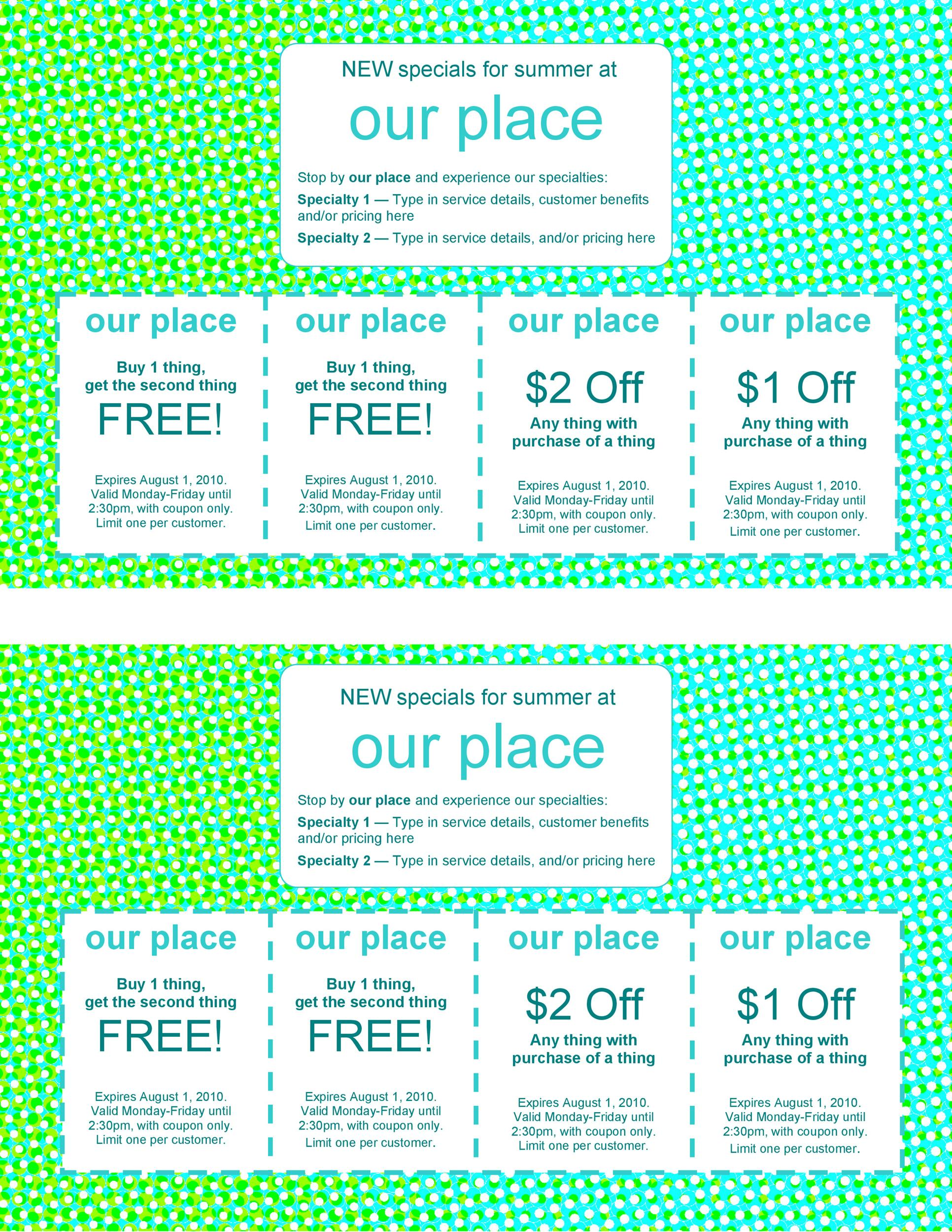 50 Free Coupon Templates - Template Lab - Coupon Book Printing