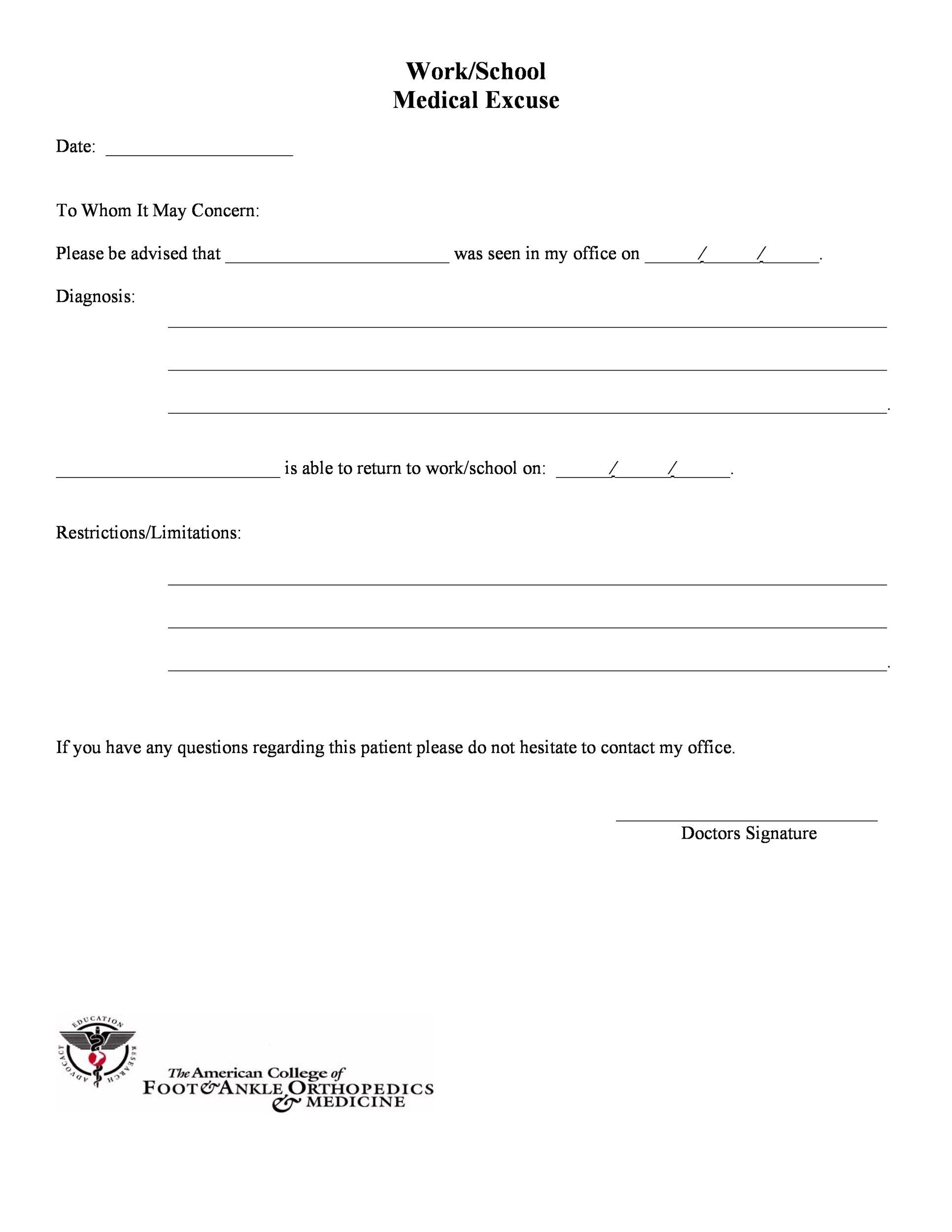 doctors note  25  free doctor note    excuse templates