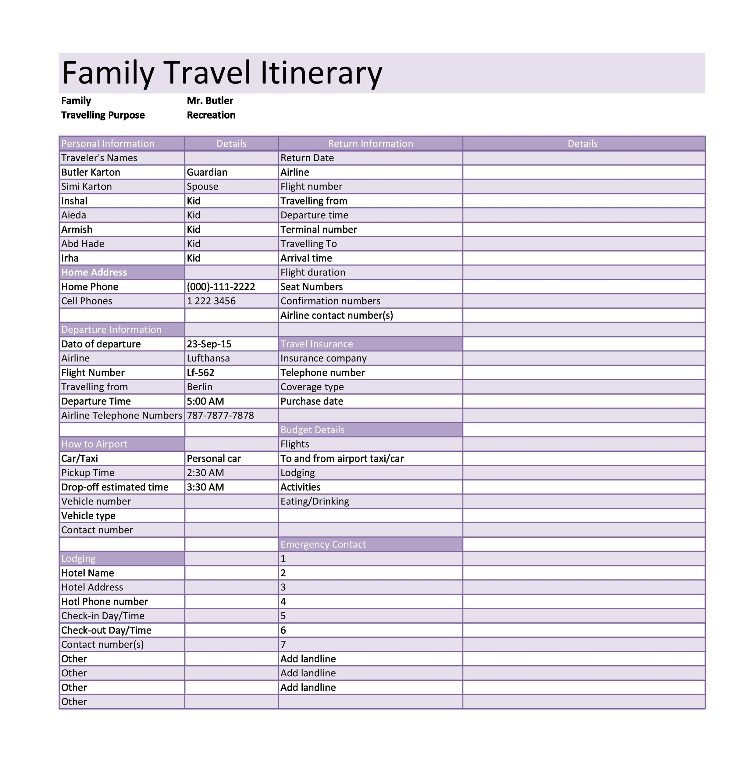 30+ Itinerary Templates (Travel, Vacation, Trip, Flight)