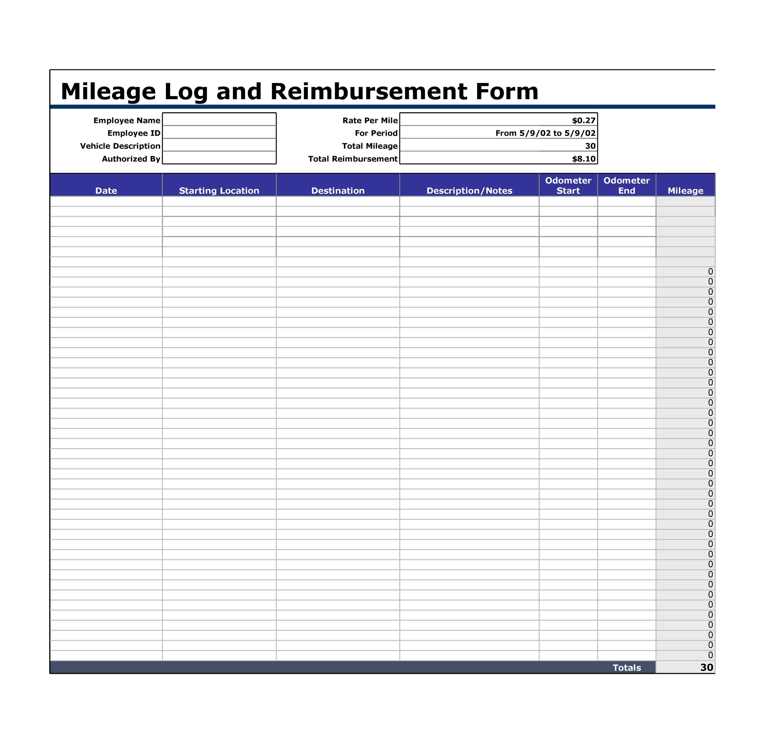 30 Printable Mileage Log Templates (Free) - Template Lab - Mileage Reimbursement Forms
