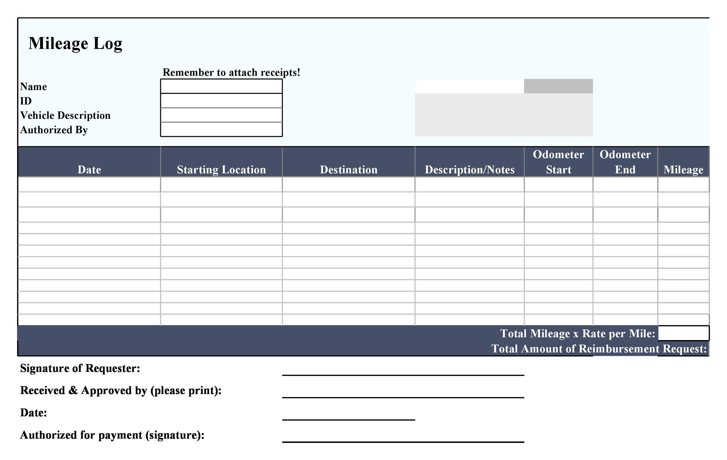30 Printable Mileage Log Templates (Free) - Template Lab