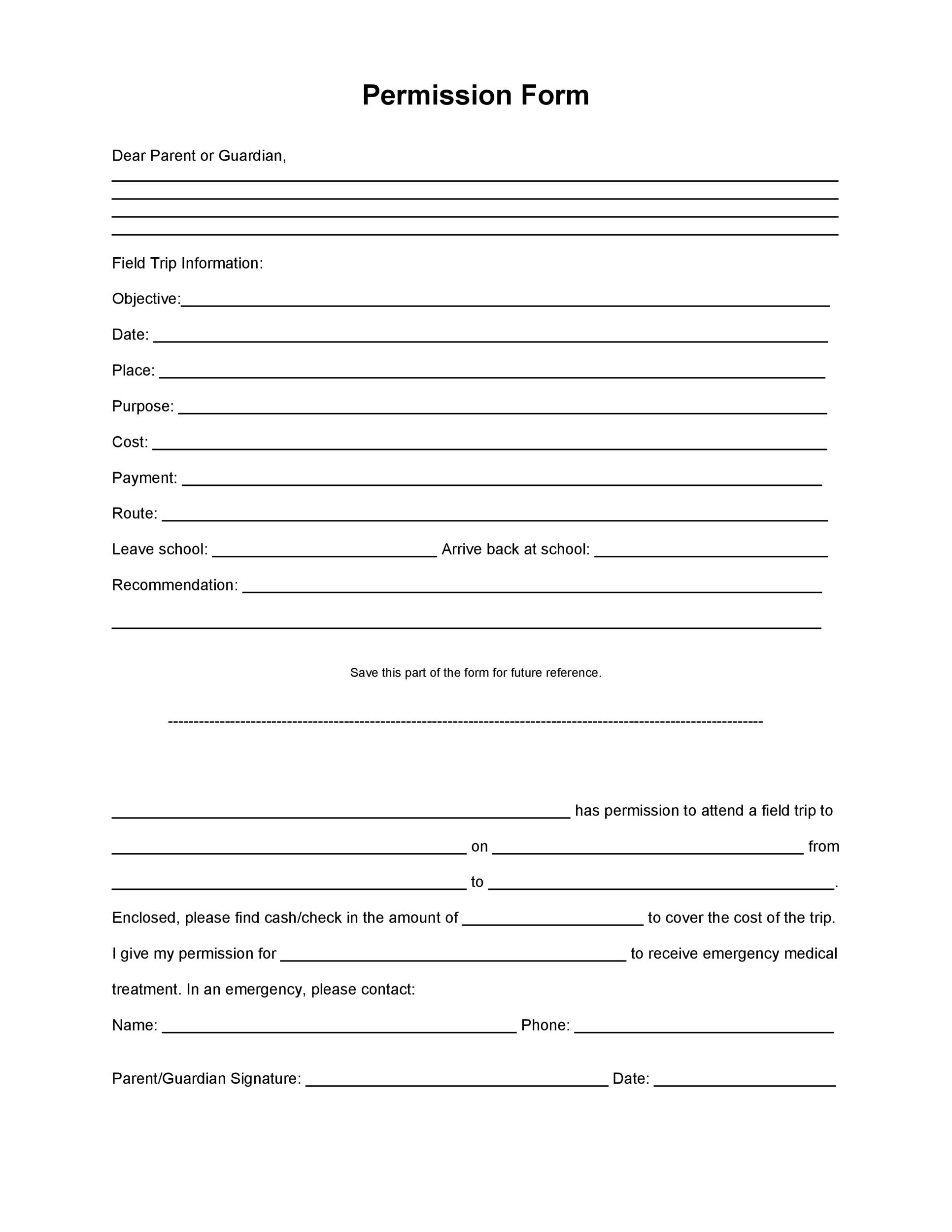 35 Permission Slip Templates  Field Trip Forms - permission form template
