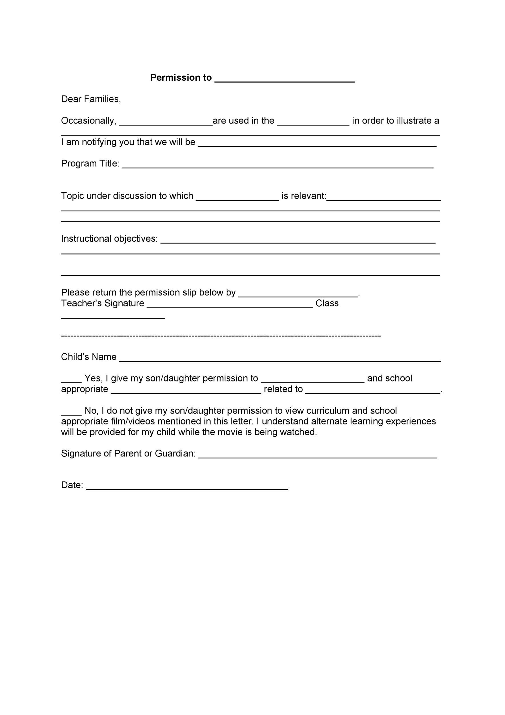 35 Permission Slip Templates  Field Trip Forms - parental consent to travel form