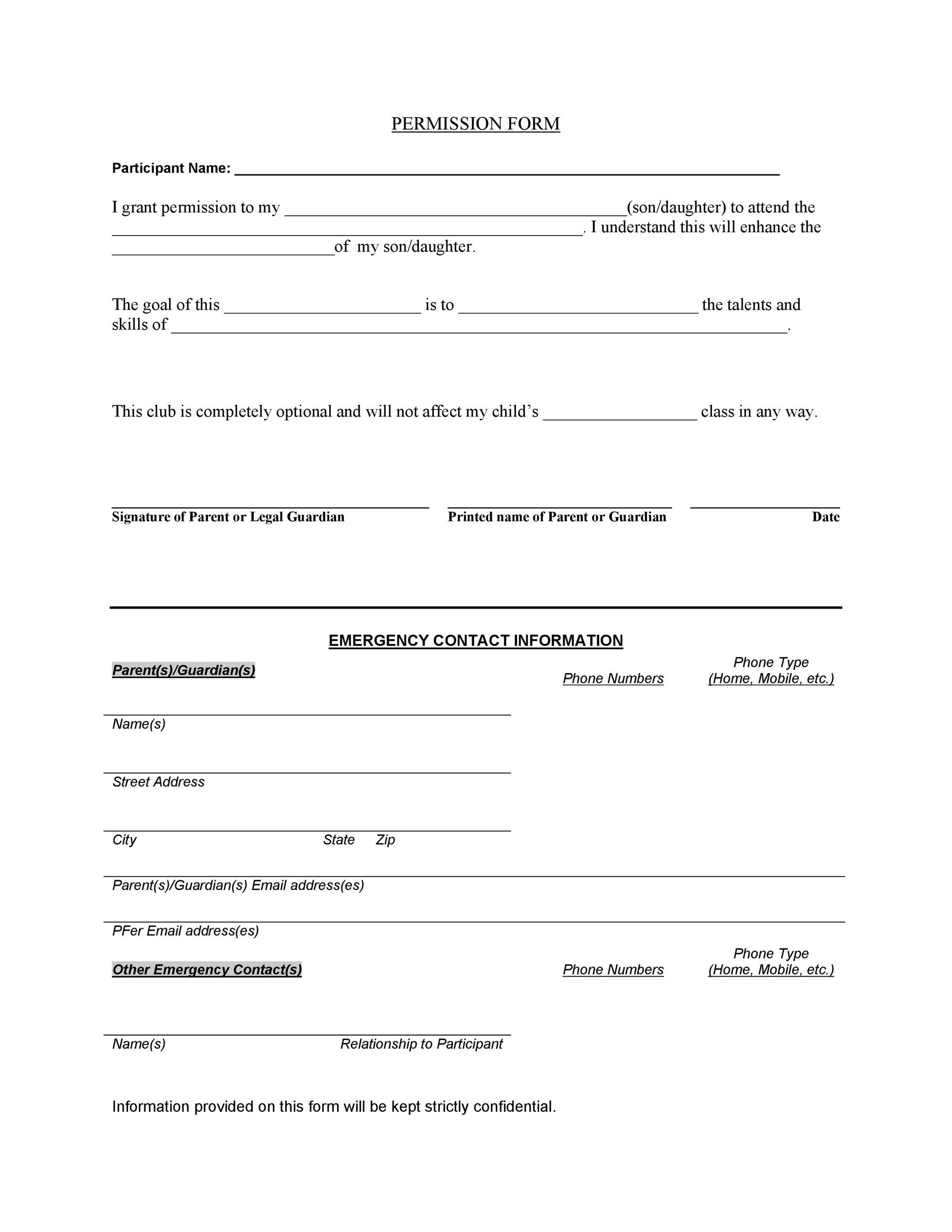 Template Consent Form 35 permission slip templates field trip - background check consent forms